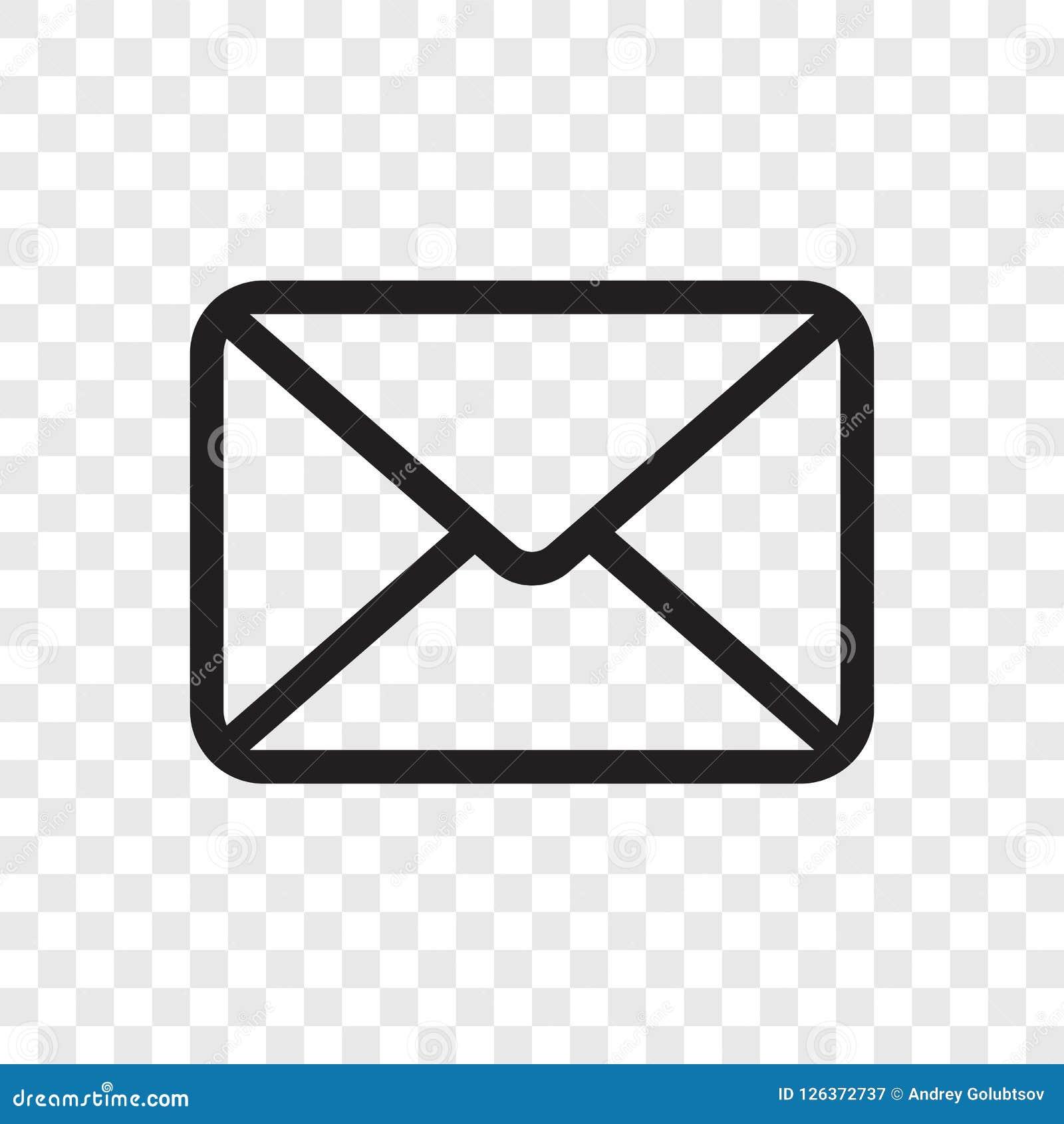 Ícone do envelope do email Vector o símbolo da mensagem do correio isolado no fundo transparente