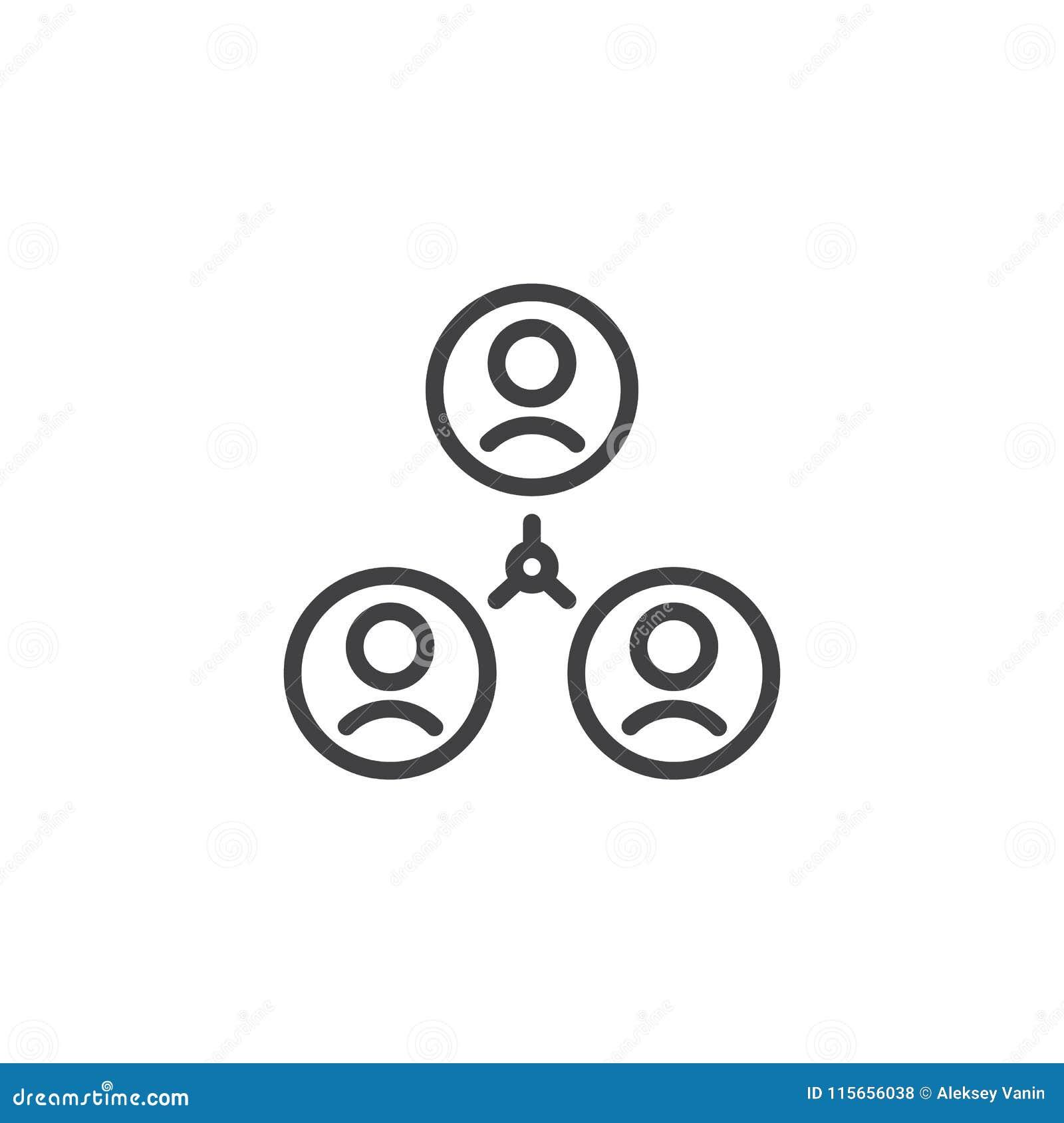 Ícone do esboço da conexão do grupo de utilizadores