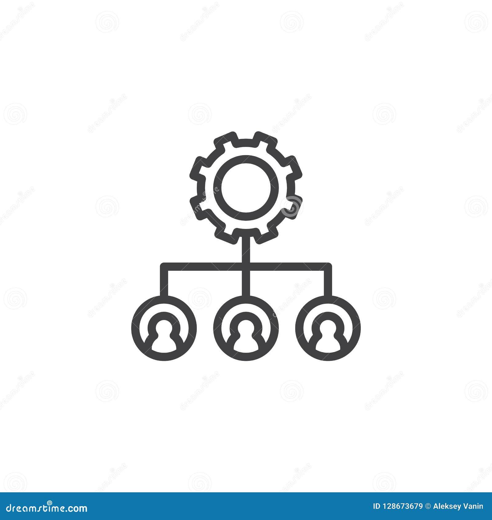 Ícone do esboço da engrenagem da estrutura hierárquica