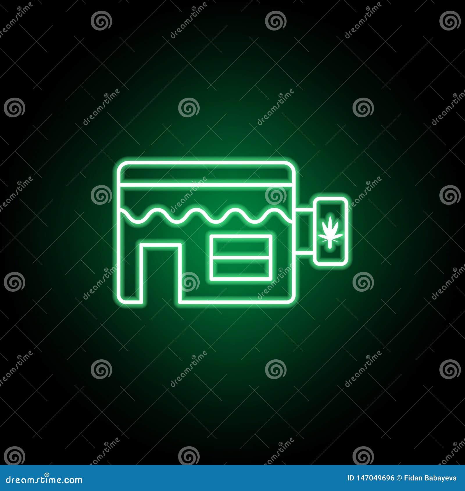 Ícone do esboço da loja da marijuana no estilo de néon Pode ser usado para a Web, logotipo, app m?vel, UI, UX
