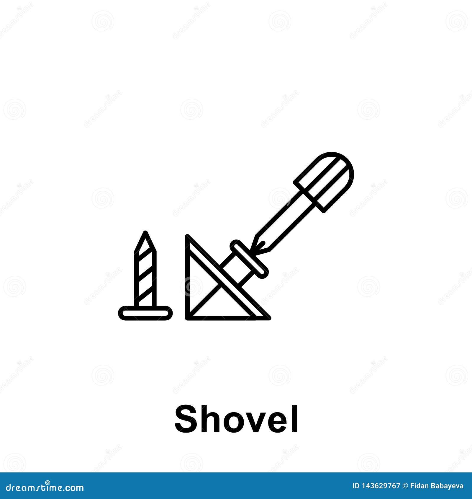 Ícone do esboço da pá Elemento do ícone da ilustração do Dia do Trabalhador Os sinais e os símbolos podem ser usados para a Web,