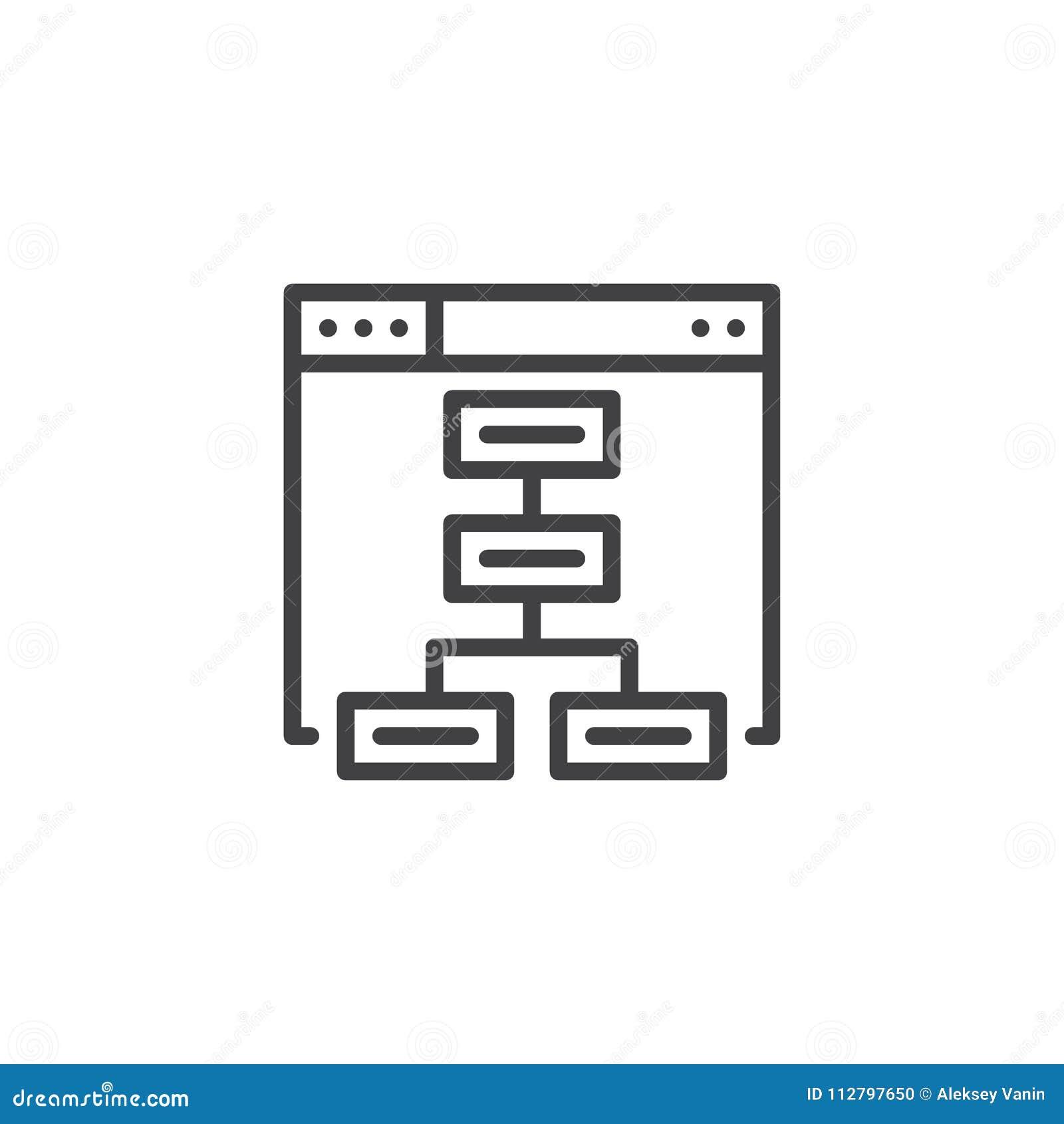 Ícone do esboço de Sitemap