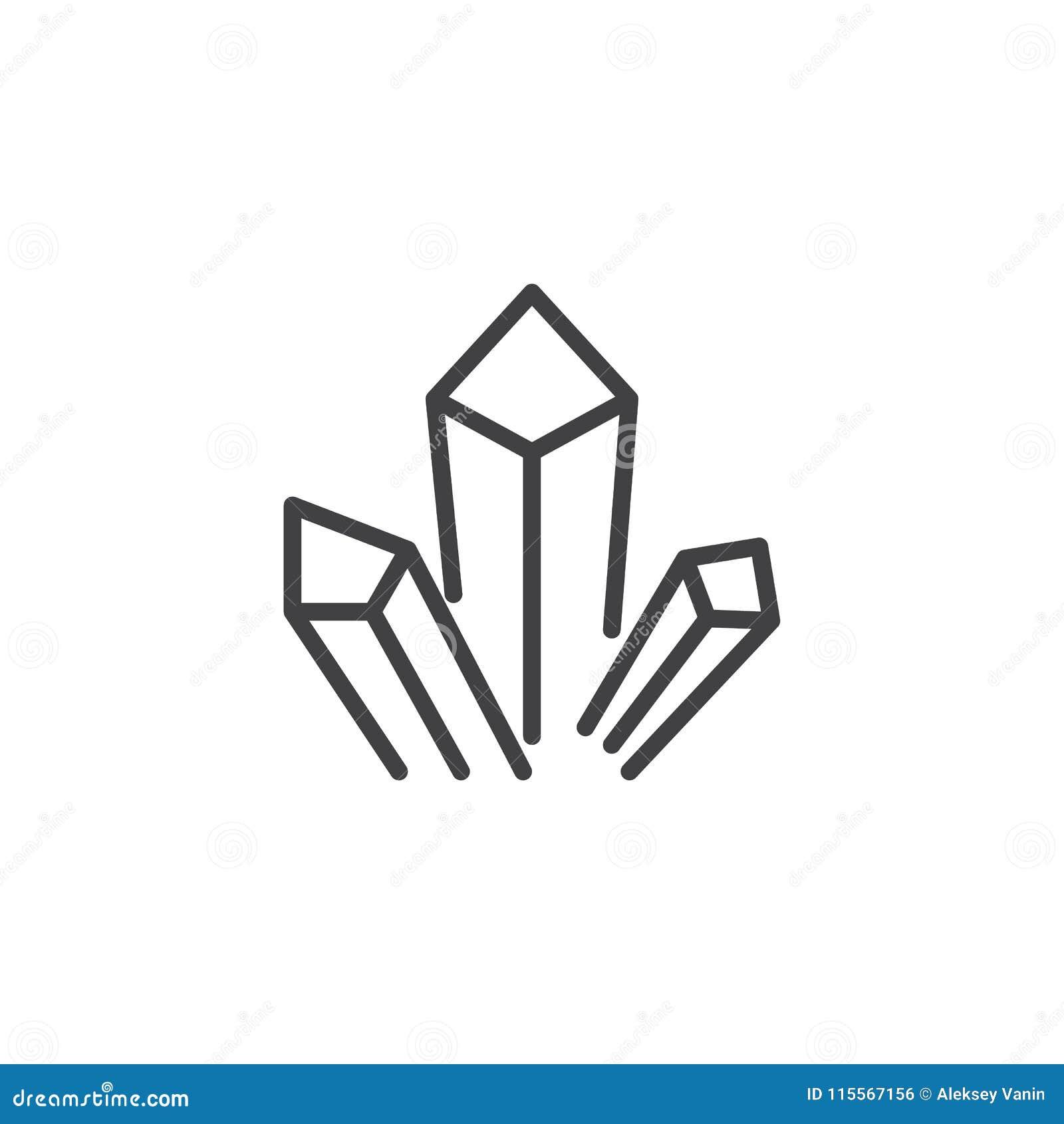 Ícone do esboço dos cristais das drogas