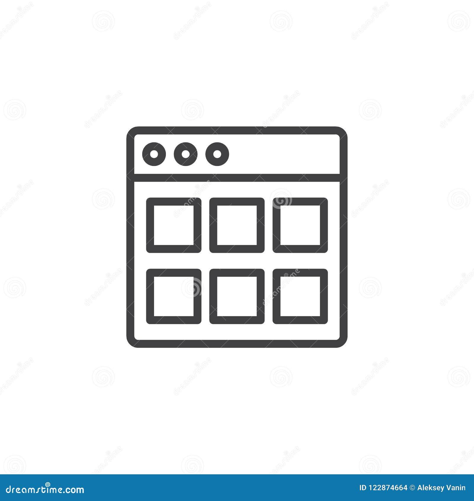 Ícone do esboço dos módulos do Web site