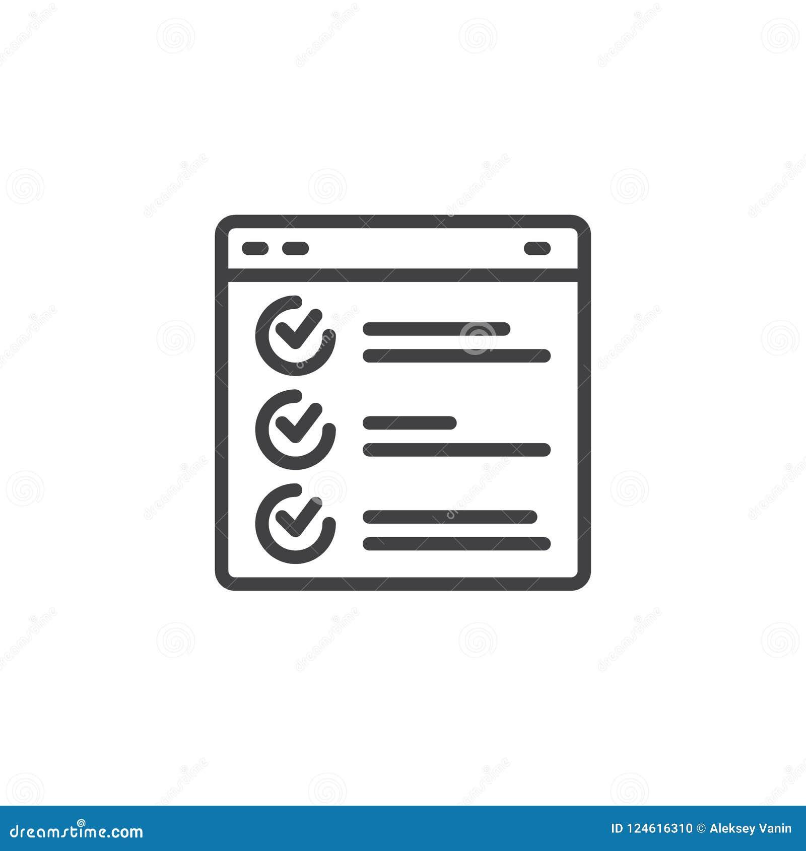 Ícone do esboço do relatório do navegador do página da web