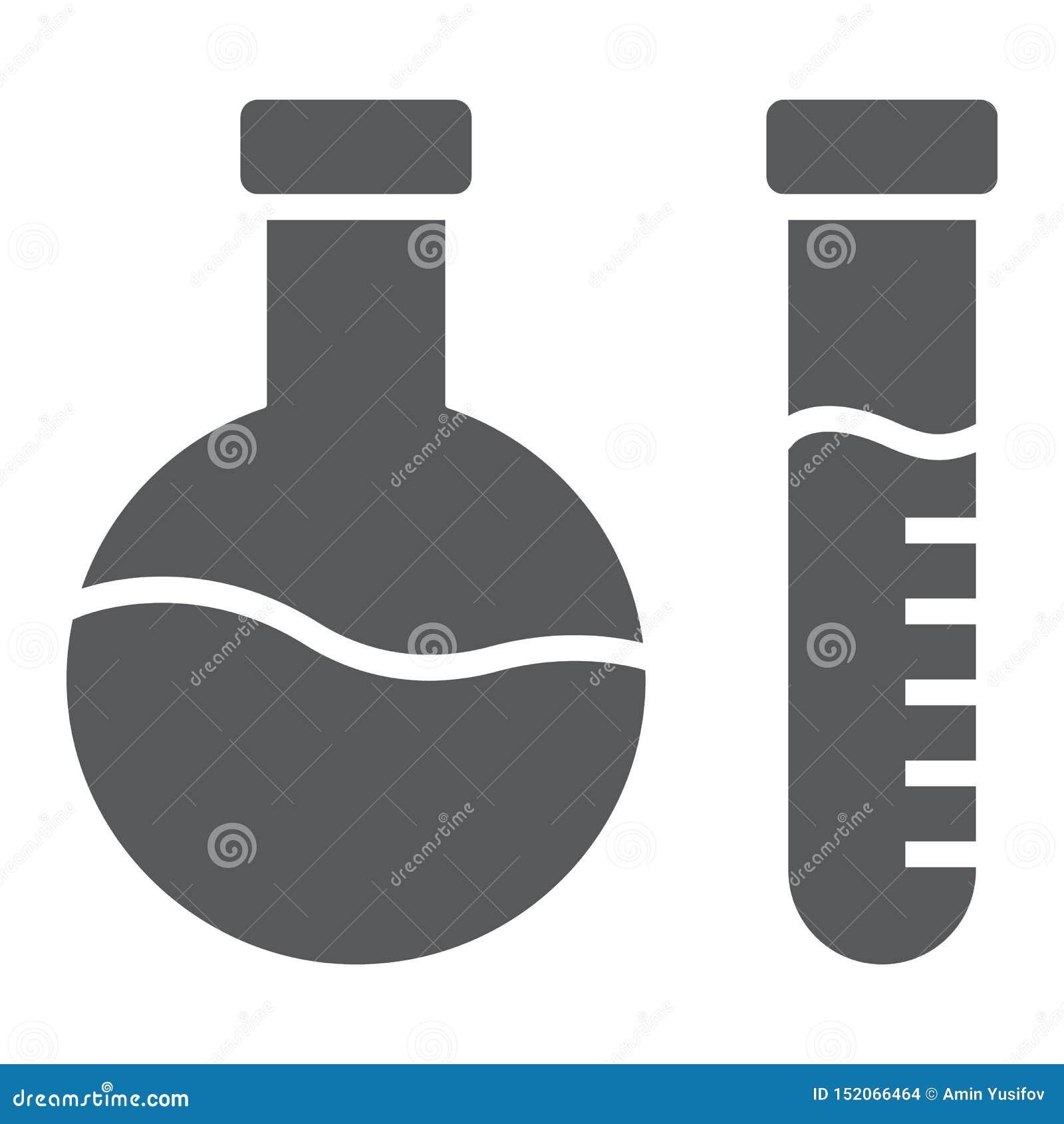 Ícone do glyph da análise química, laboratório e garrafa, sinal do teste do tubo, gráficos de vetor, um teste padrão contínuo em