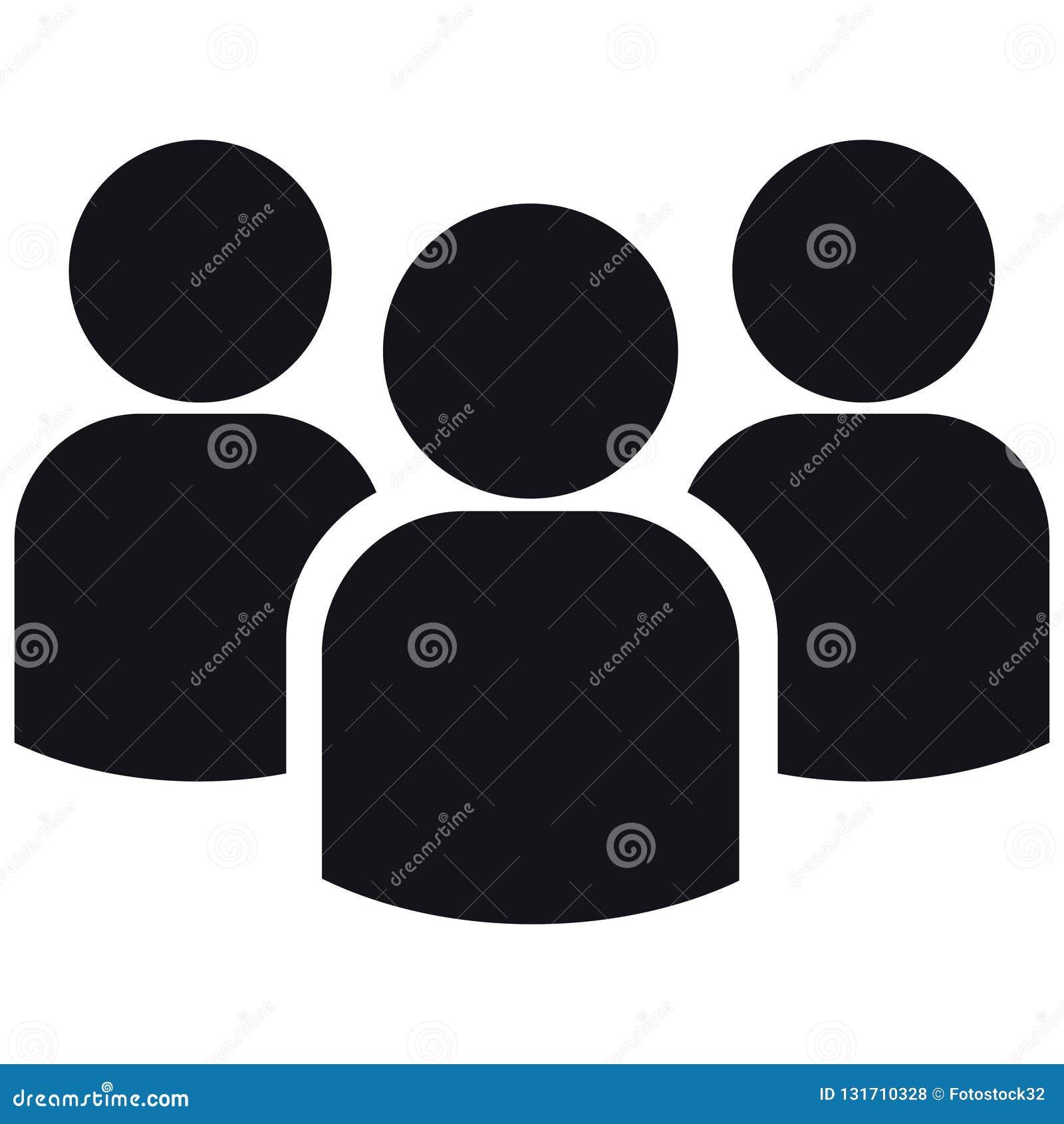 Ícone do grupo de três pessoas das silhuetas