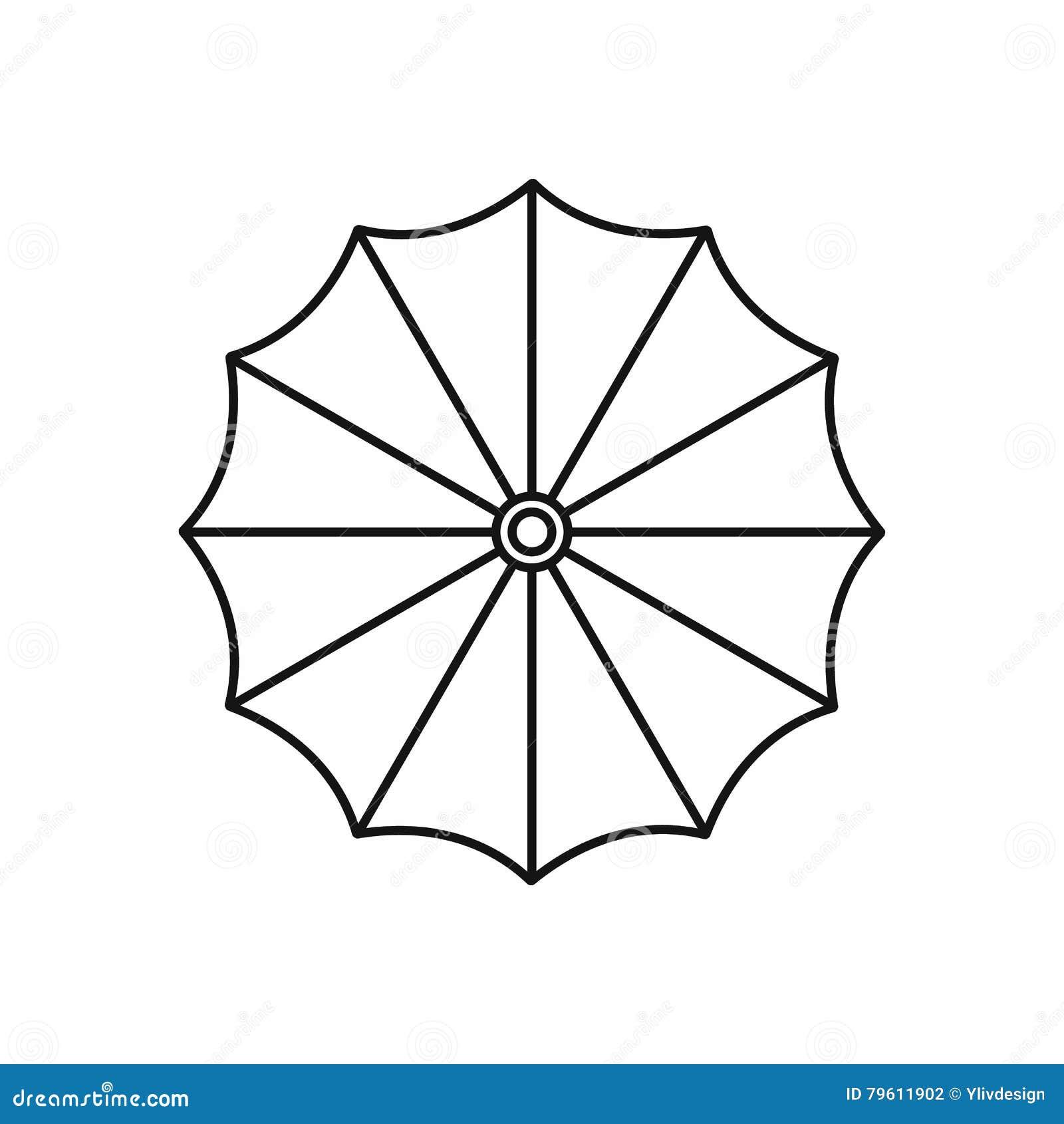 Ícone do guarda-chuva no estilo do esboço