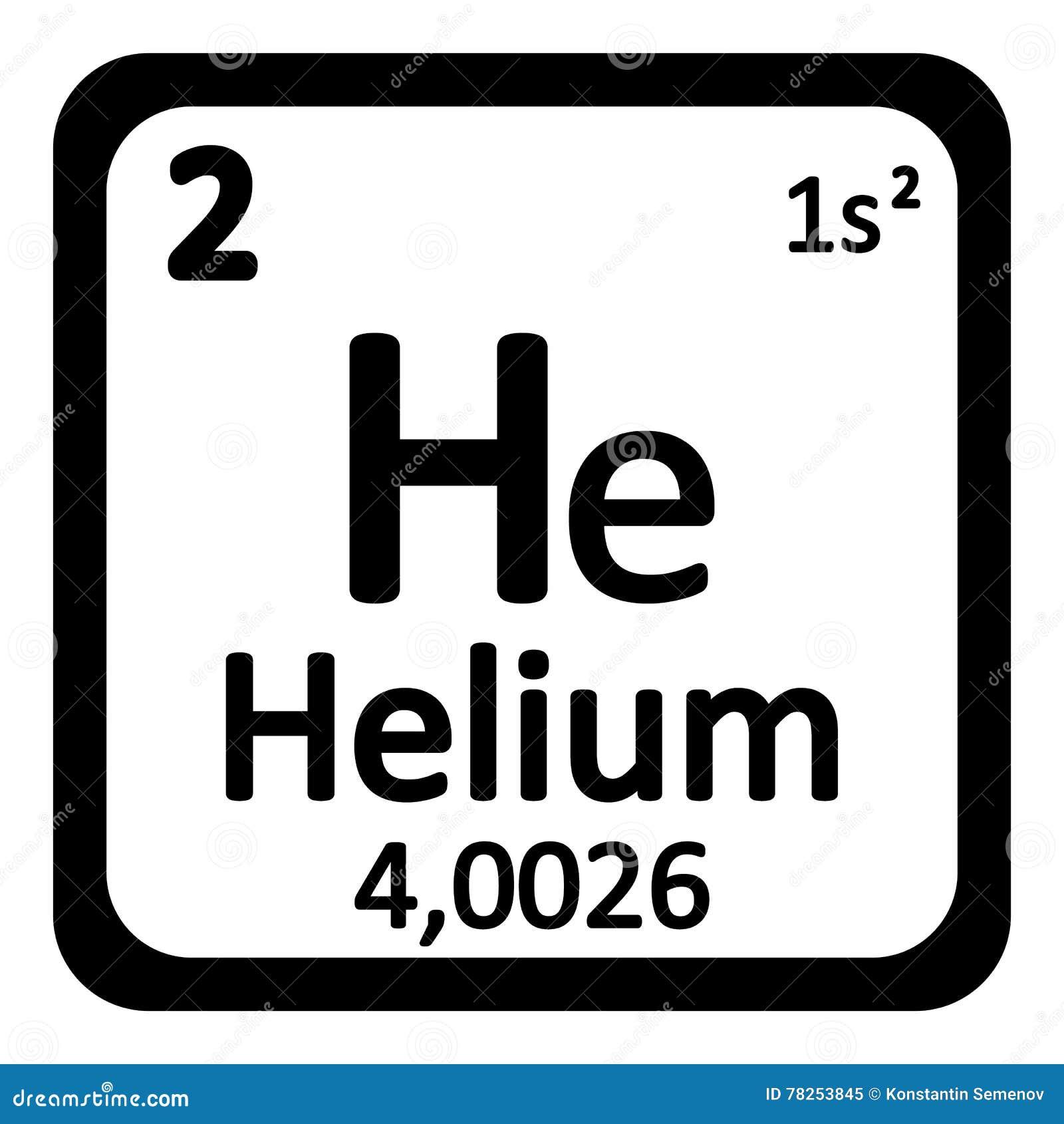 Ícone do hélio do elemento de tabela periódica
