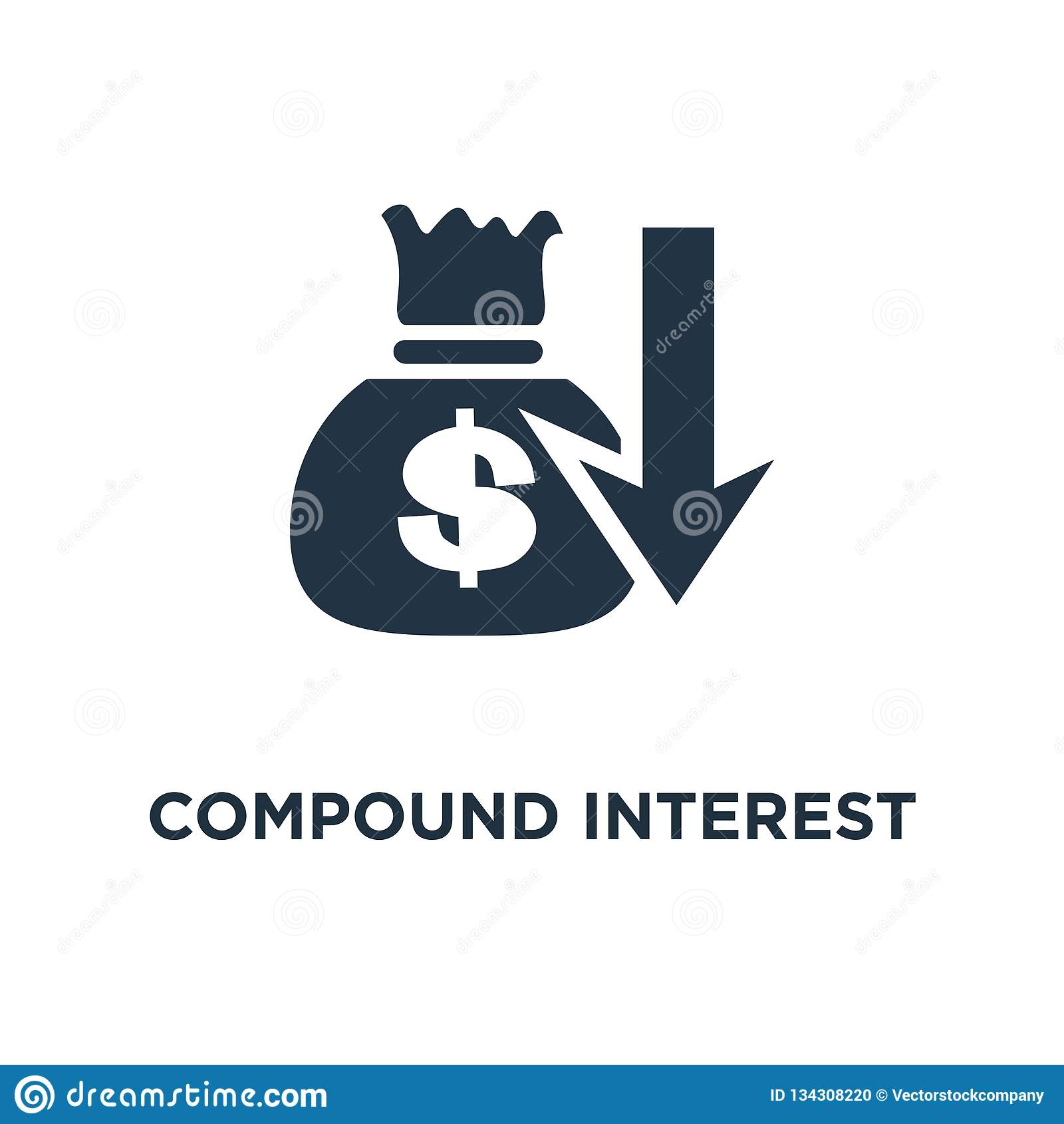 ícone do interesse composto valor adicionado, plano do fundo de pensão, gestão de orçamento, projeto do símbolo do conceito da co