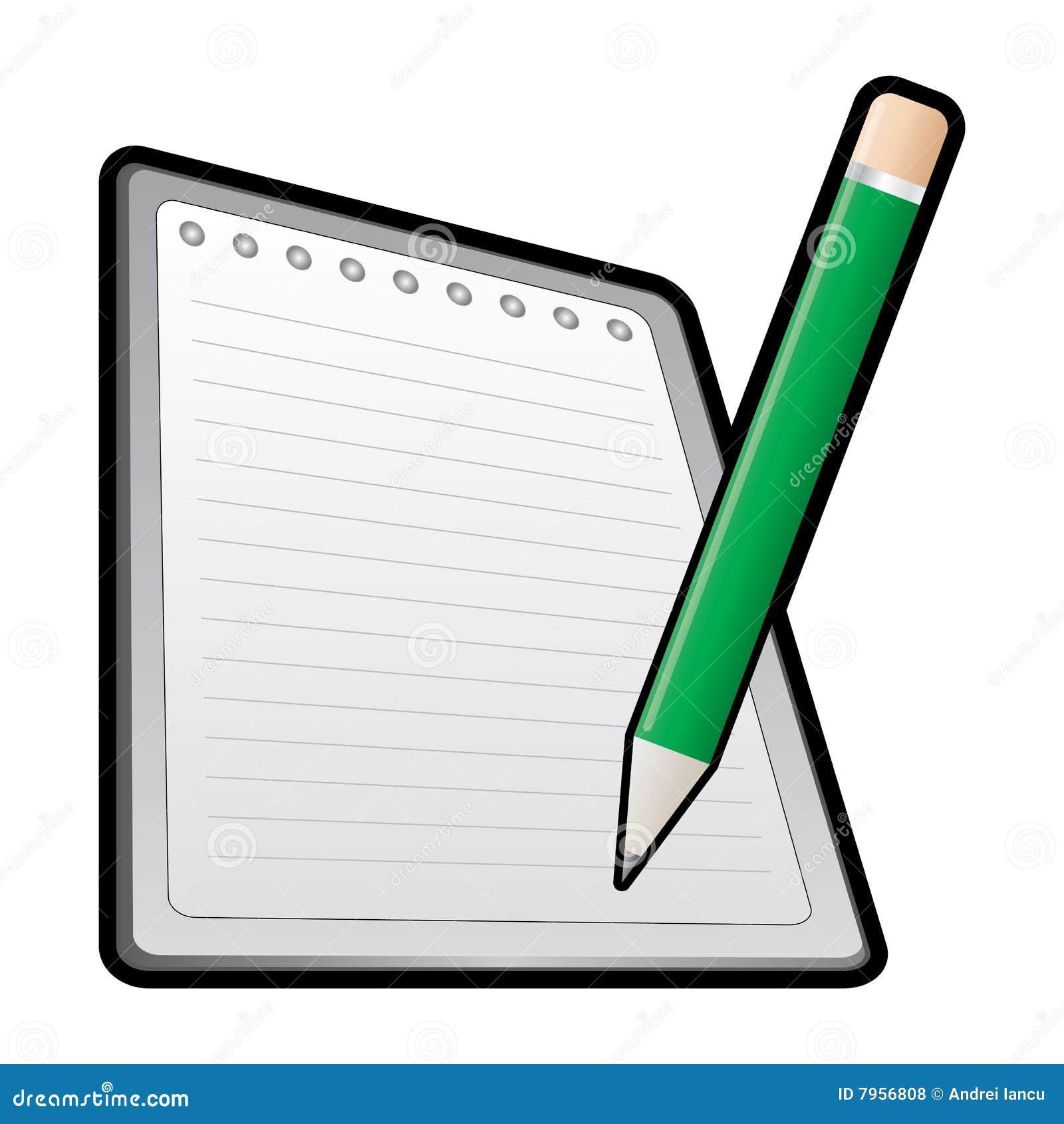 Ícone do lápis e do caderno