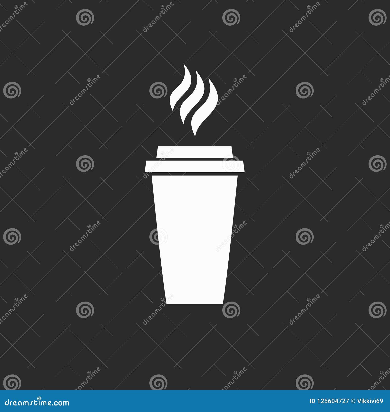 Ícone do logotipo branco bebendo do latte do cappuccino do menu do almoço do café do restaurante das bebidas do café do café no f
