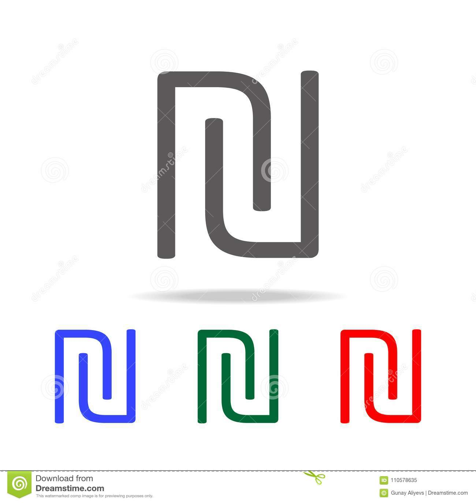 ícone do logotipo da letra inicial U e do N Elementos em multi ícones coloridos para apps móveis do conceito e da Web Ícones para