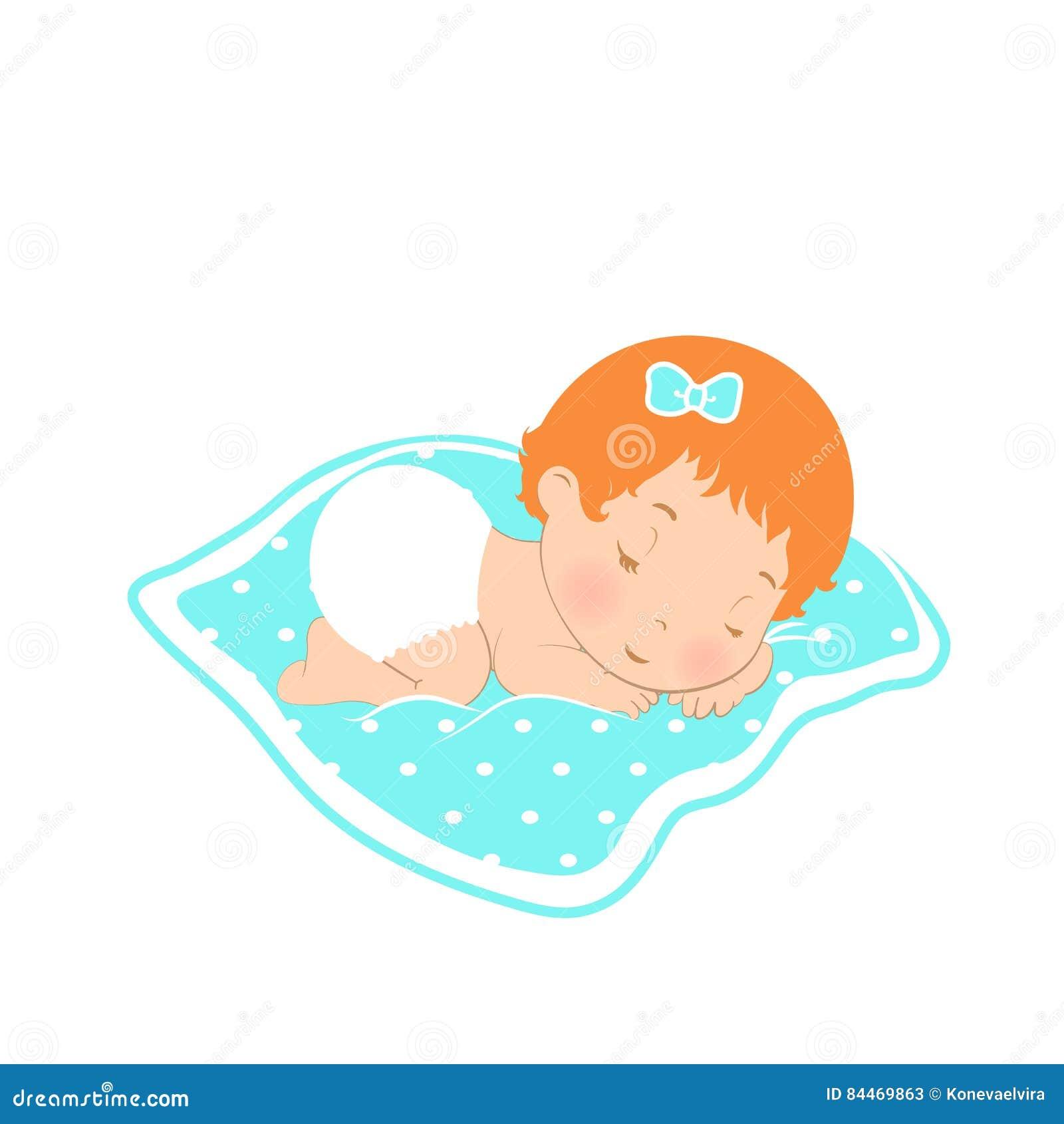 ícone Do Logotipo Do Sono Do Bebê Menina Doce Que Dorme No Tecido