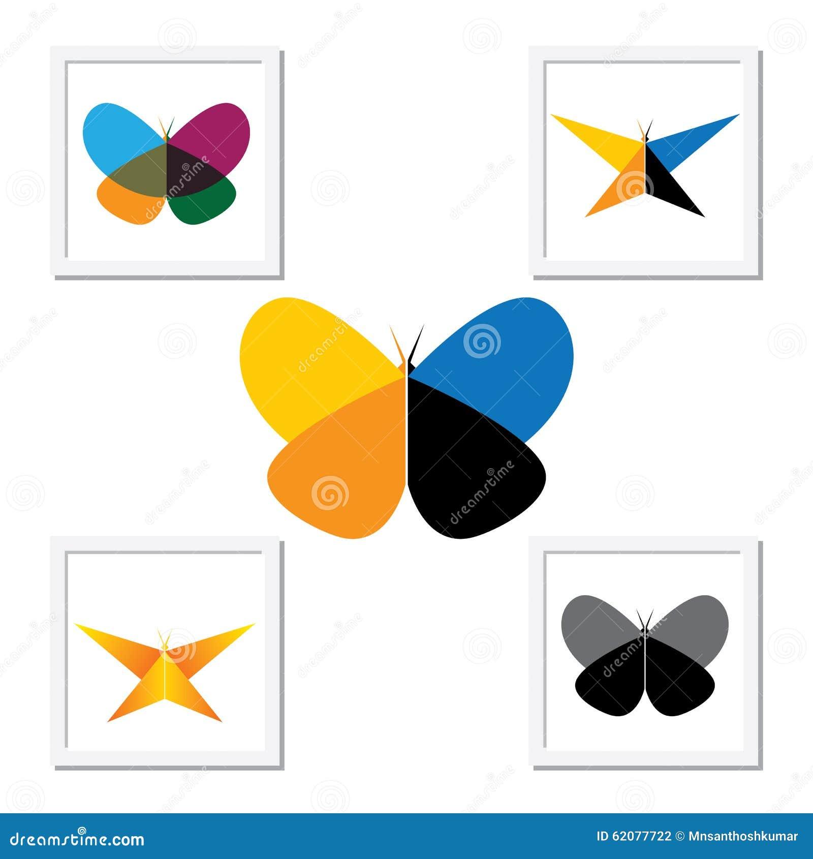Ícone do logotipo do vetor - borboletas bonitas coloridas ajustadas