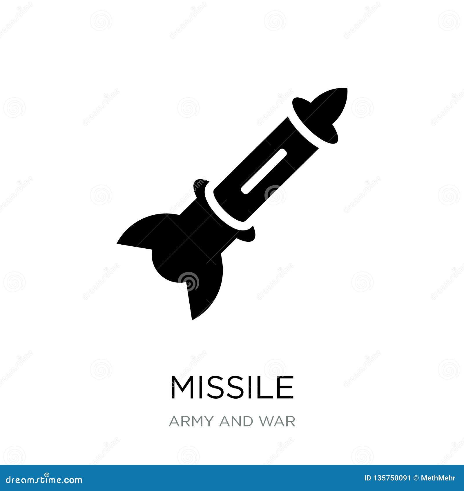 ícone do míssil no estilo na moda do projeto ícone do míssil isolado no fundo branco símbolo liso simples e moderno do ícone do v