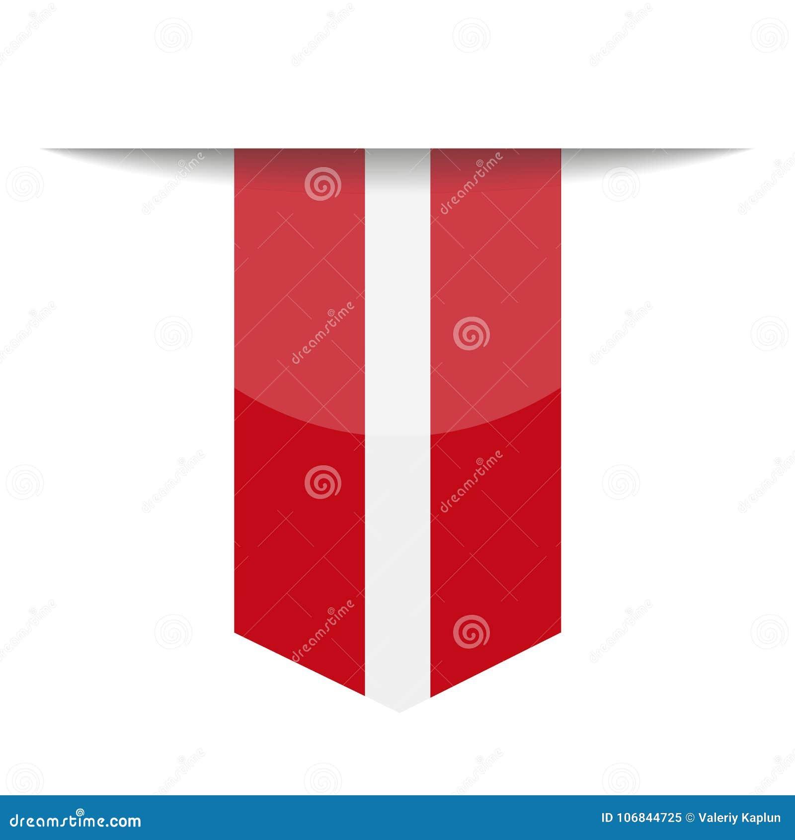 Ícone do marcador do vetor da bandeira de letónia ilustração stock