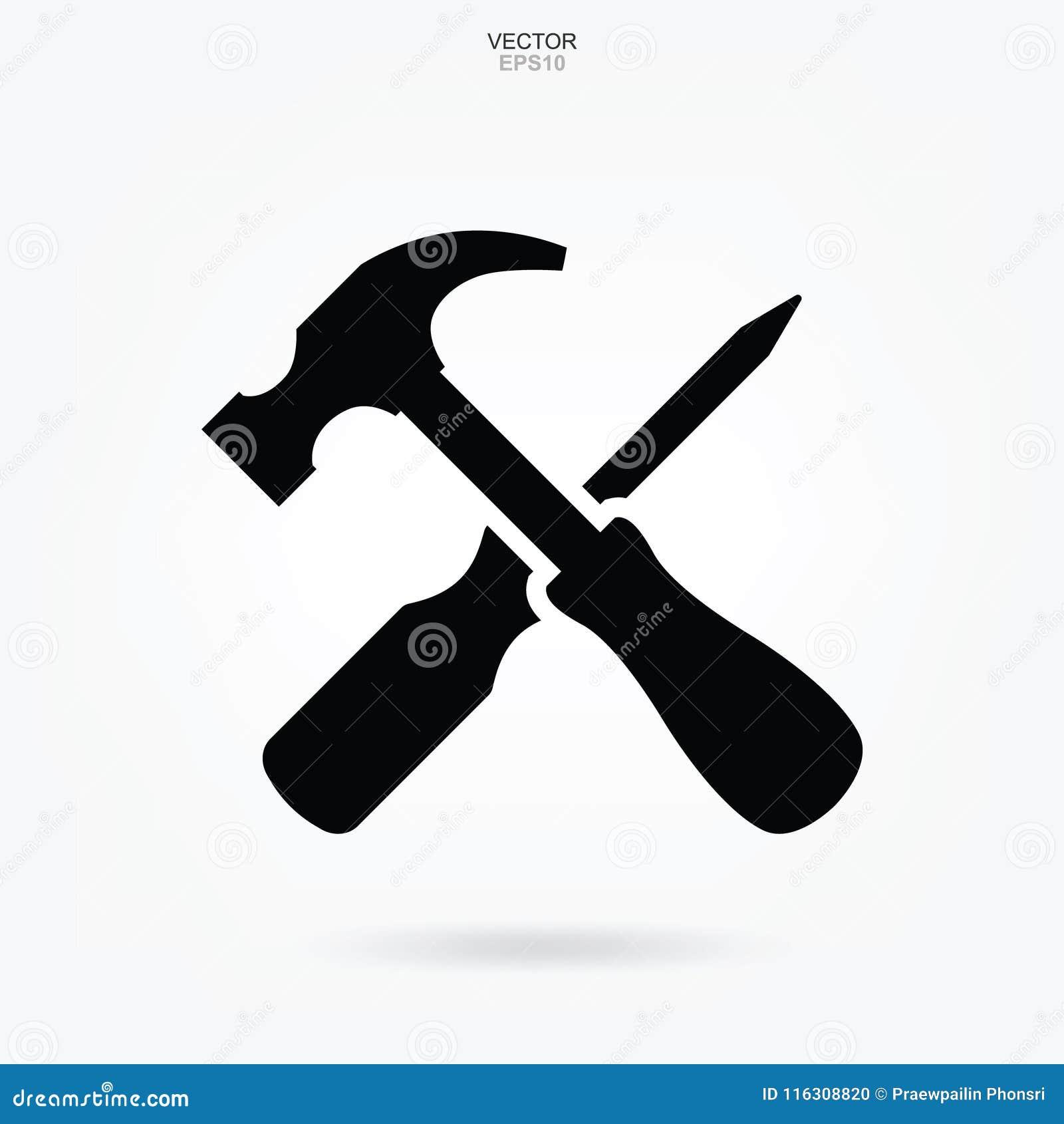 Ícone do martelo e da chave de fenda Sinal e símbolo da ferramenta do artesão Vetor