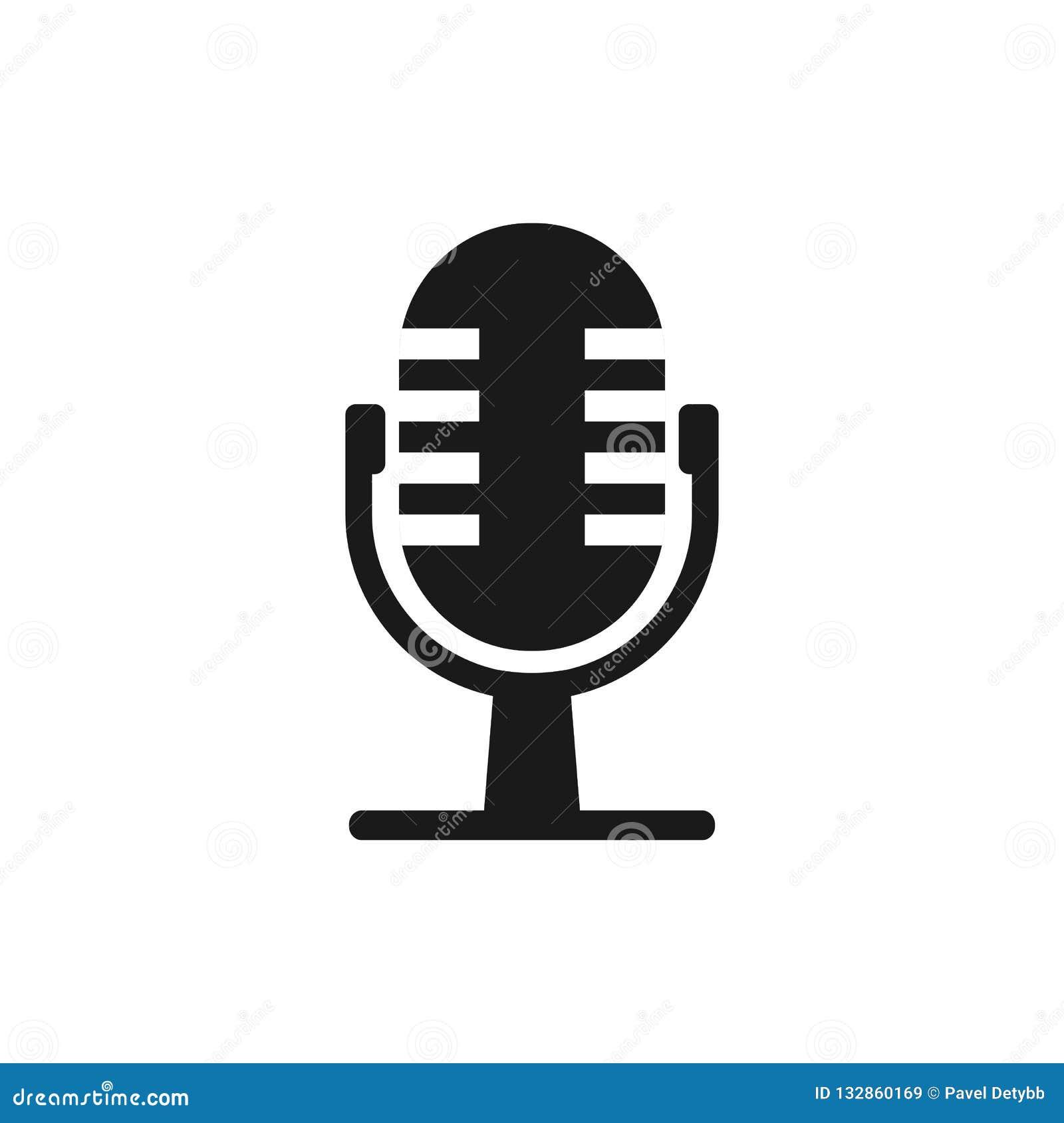Ícone do mic do microfone Ilustração do vetor, projeto liso