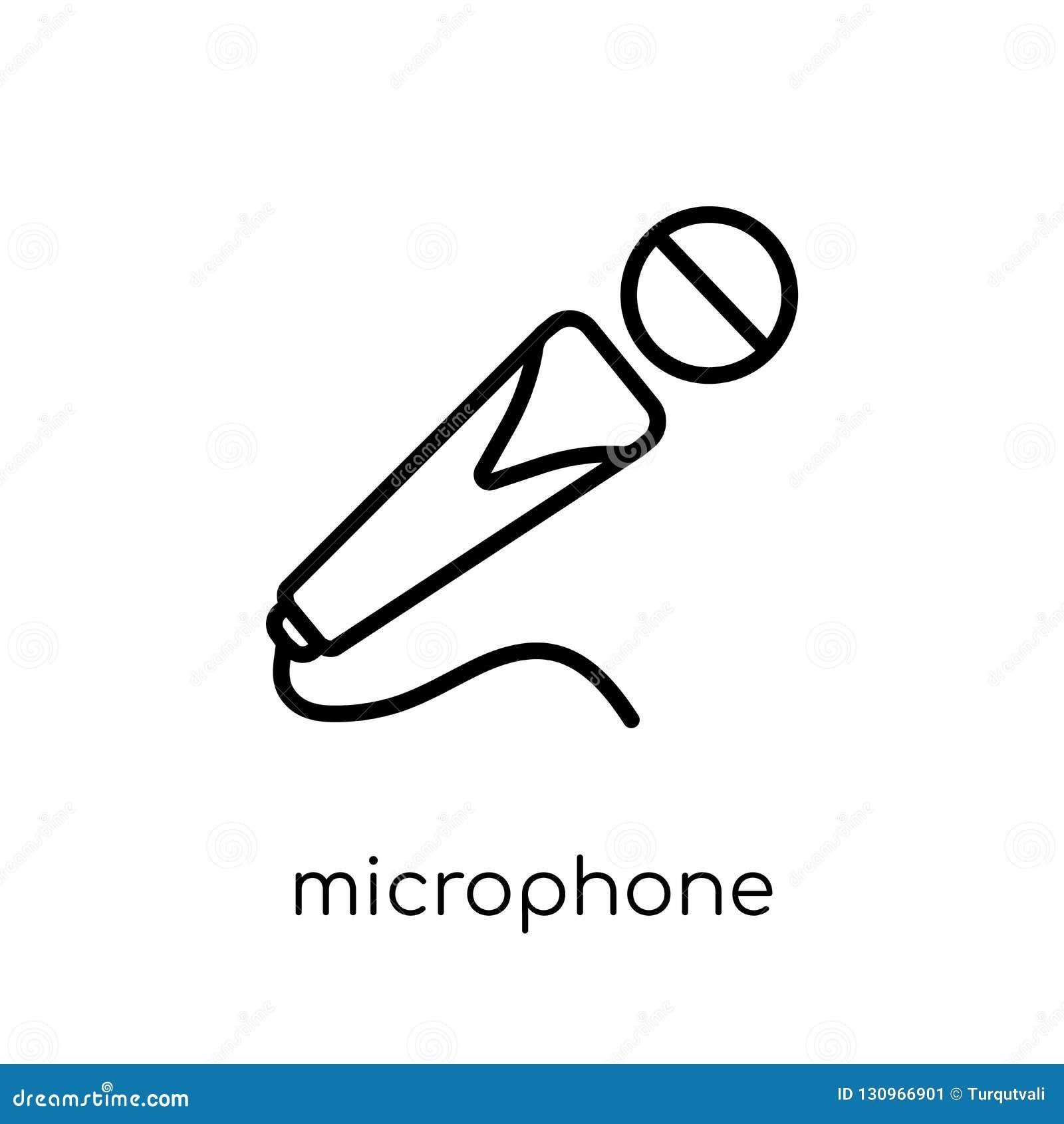 Ícone do microfone Ico linear liso moderno na moda do microfone do vetor