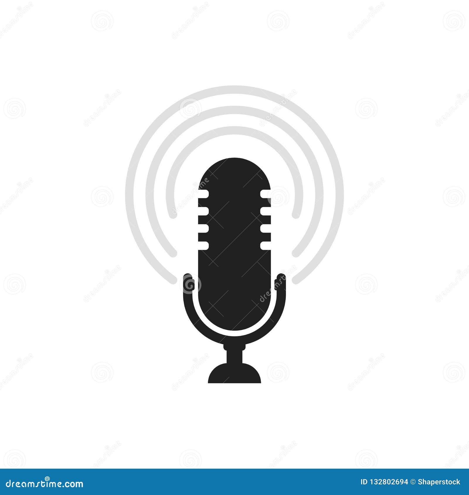 Ícone do microfone Vetor do orador Sinal sadio isolado no fundo branco Ilustração simples para a Web e plataformas móveis