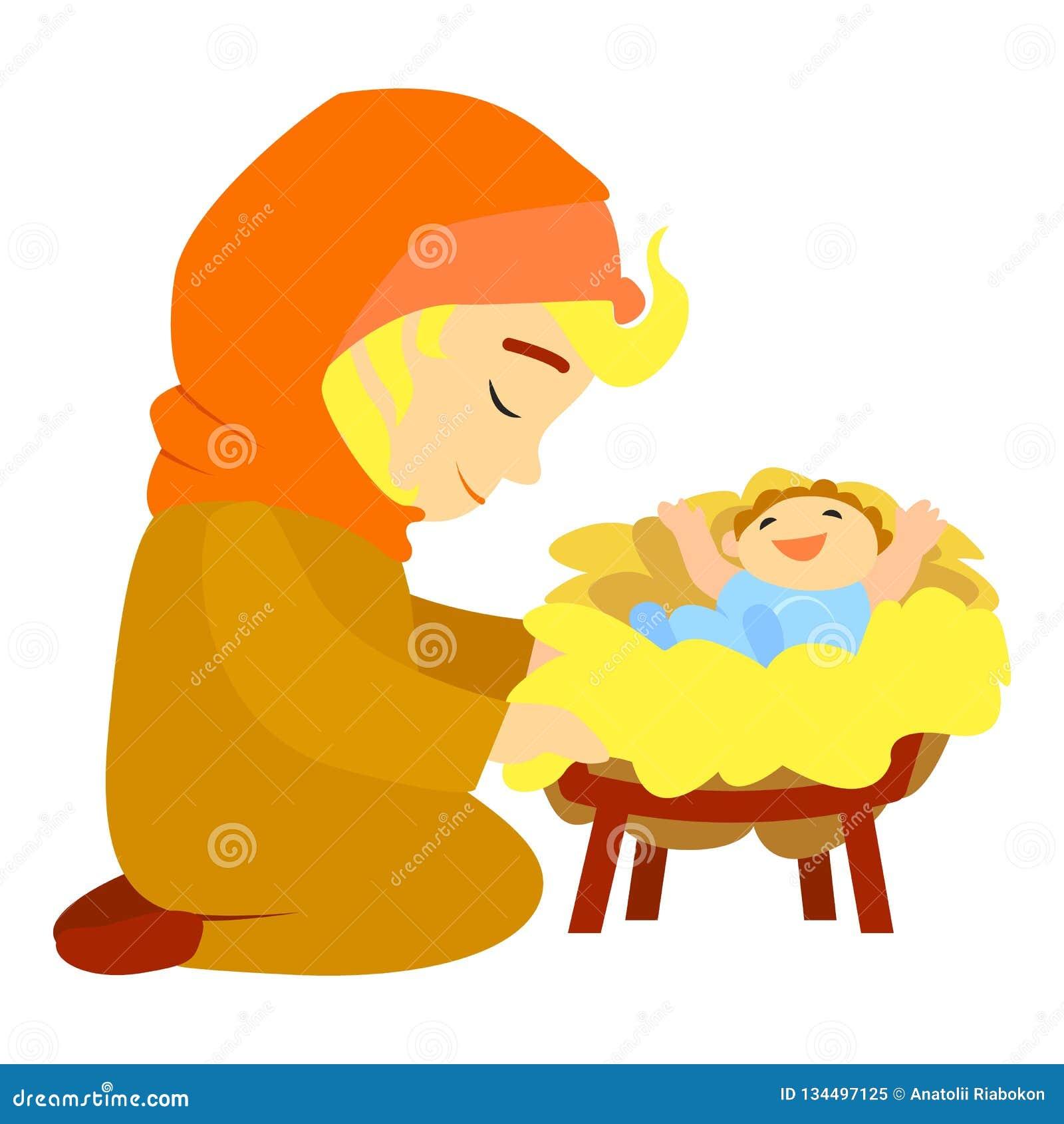 Icone Do Nascimento De Jesus Estilo Dos Desenhos Animados