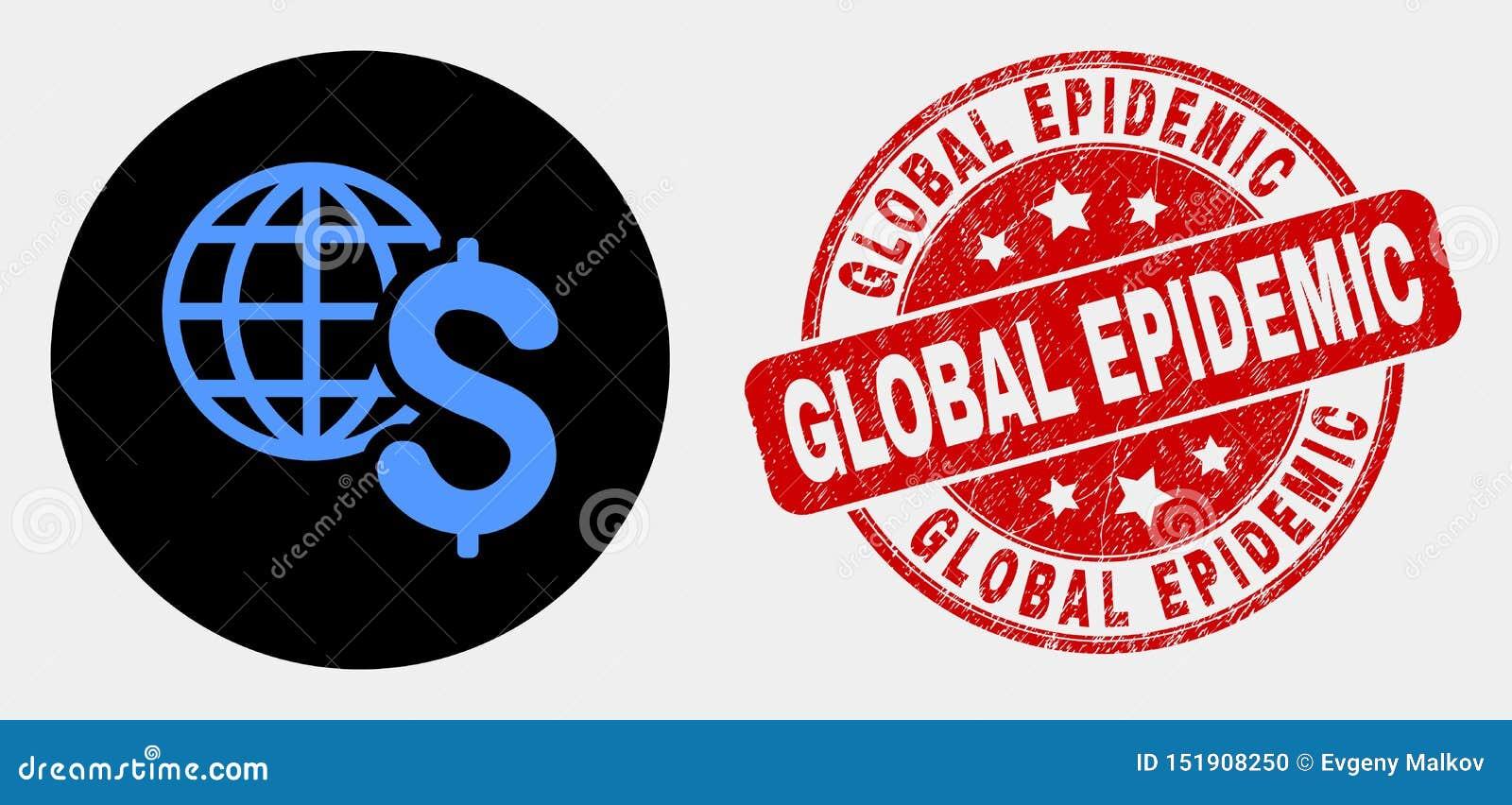 Ícone do negócio global do vetor e selo epidêmico global da aflição