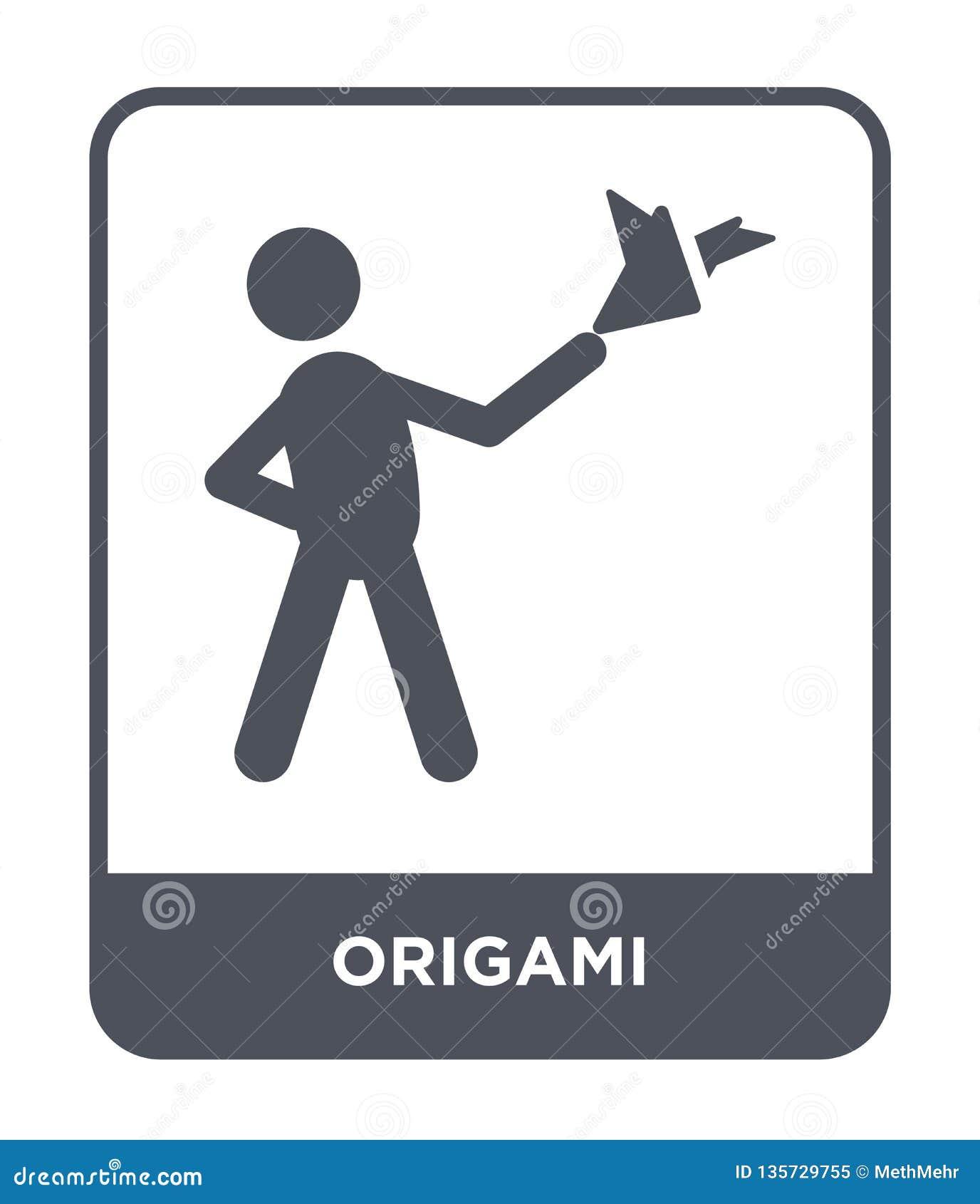 ícone do origâmi no estilo na moda do projeto ícone do origâmi isolado no fundo branco símbolo liso simples e moderno do ícone do