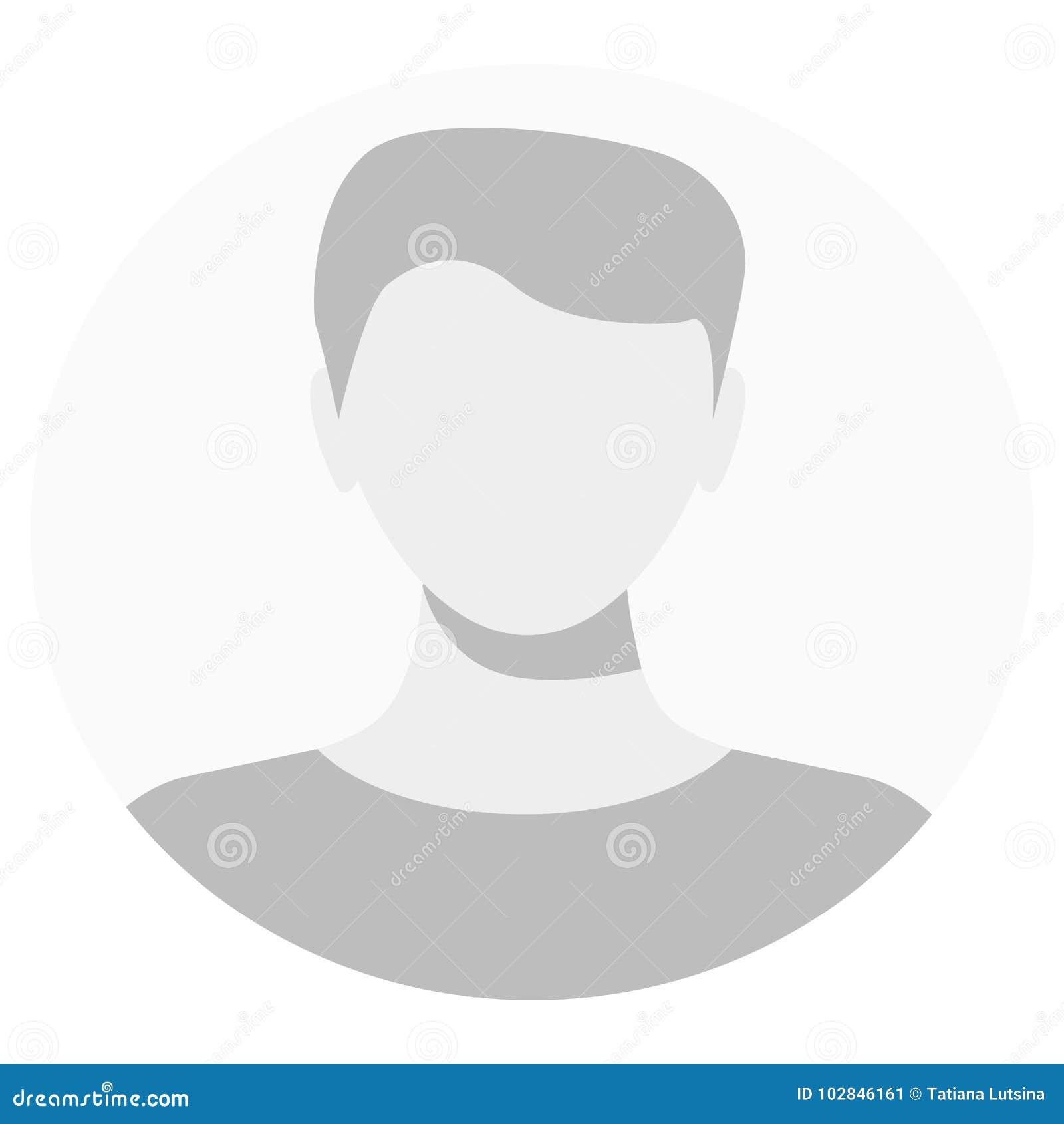Ícone do perfil do avatar do defeito Placeholder cinzento da foto