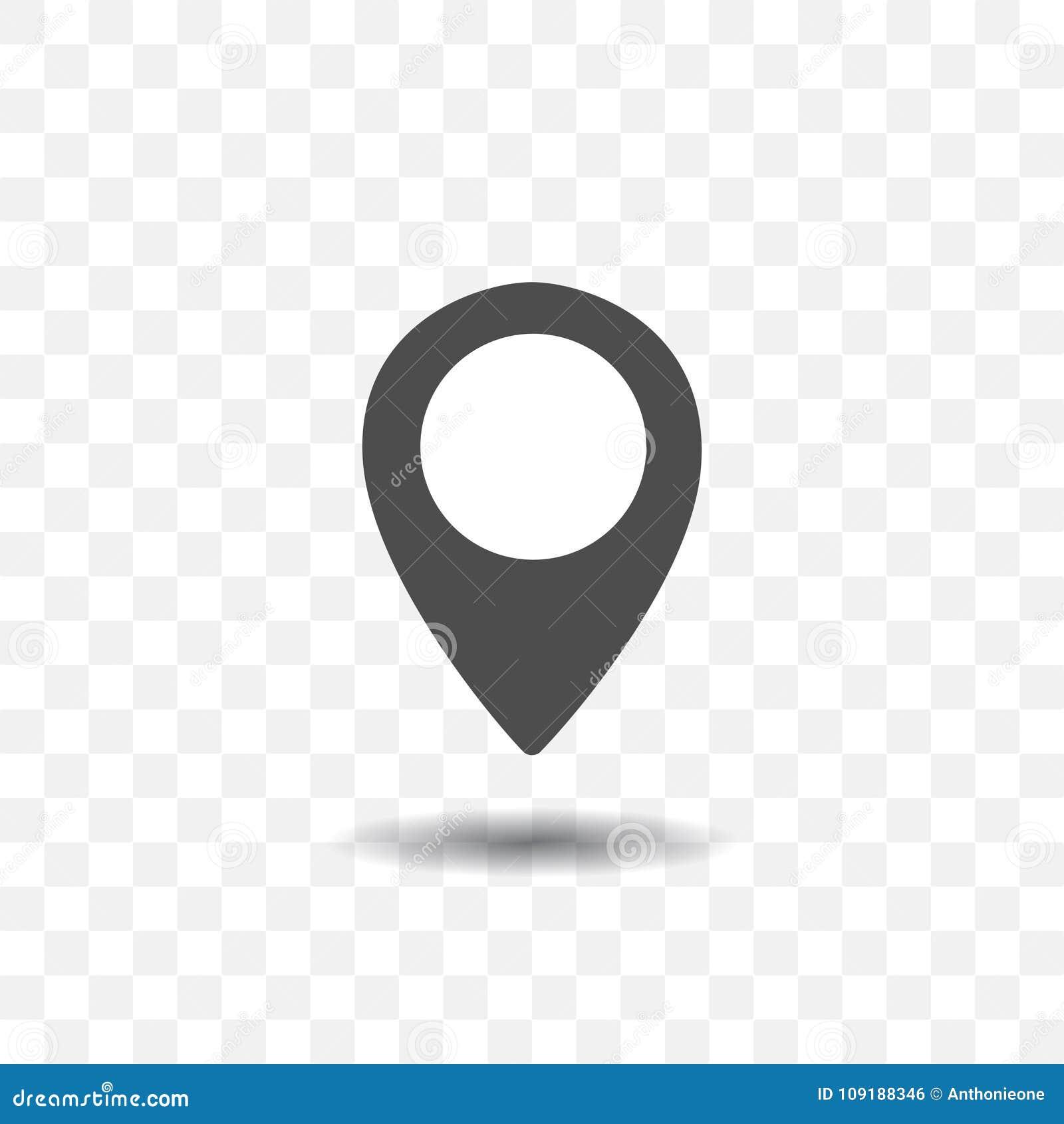 Ícone do ponteiro do lugar do mapa no fundo transparente Pino do mapa para o alvo ou o destino