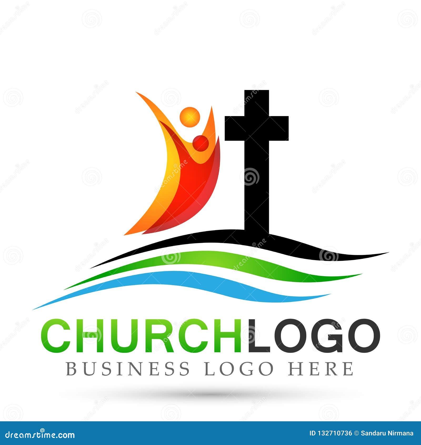 Ícone do projeto do logotipo do amor do cuidado da união dos povos da igreja da cidade no fundo branco Clássico, antigo No fundo