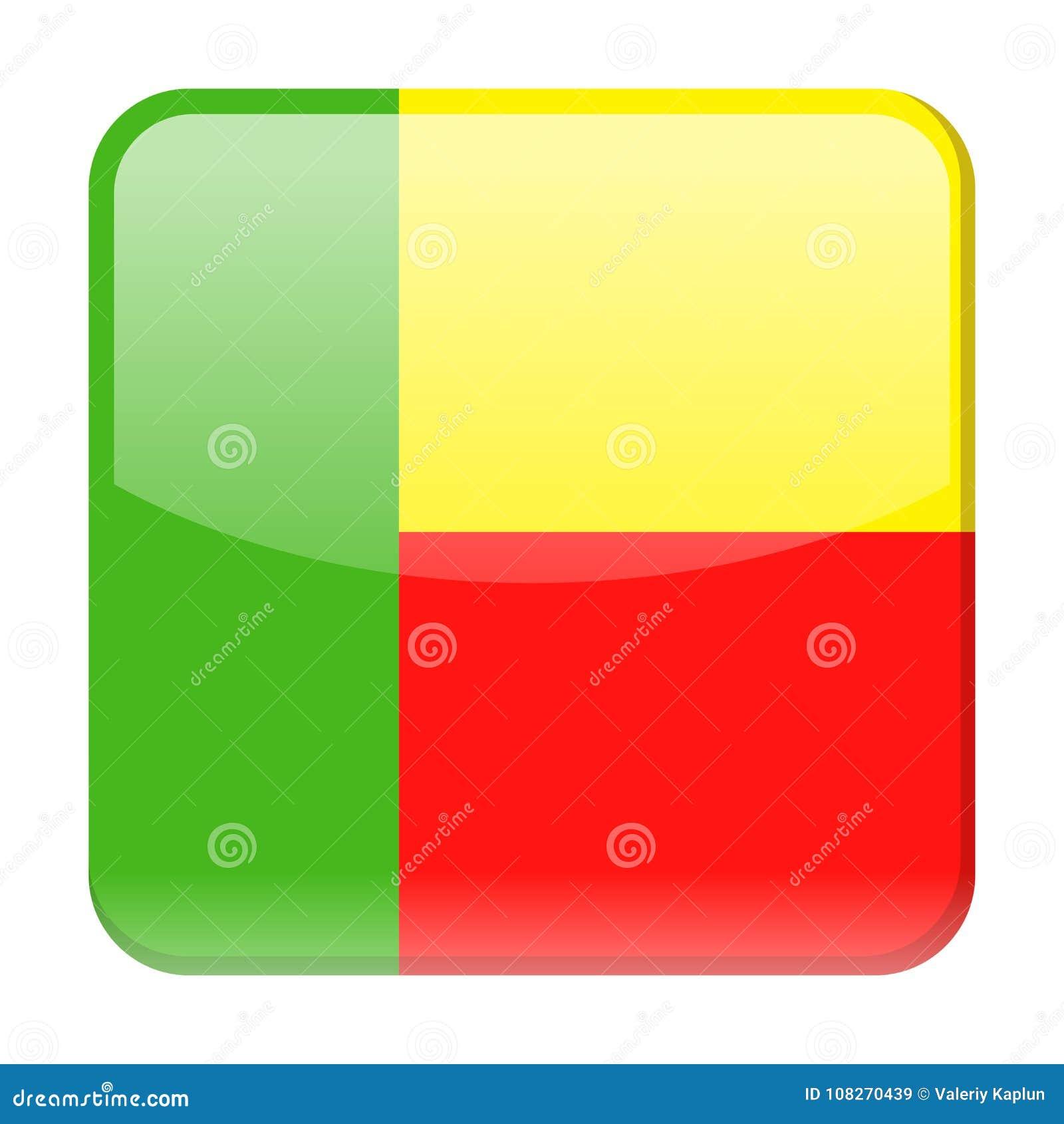 Ícone do quadrado do vetor da bandeira de Benin