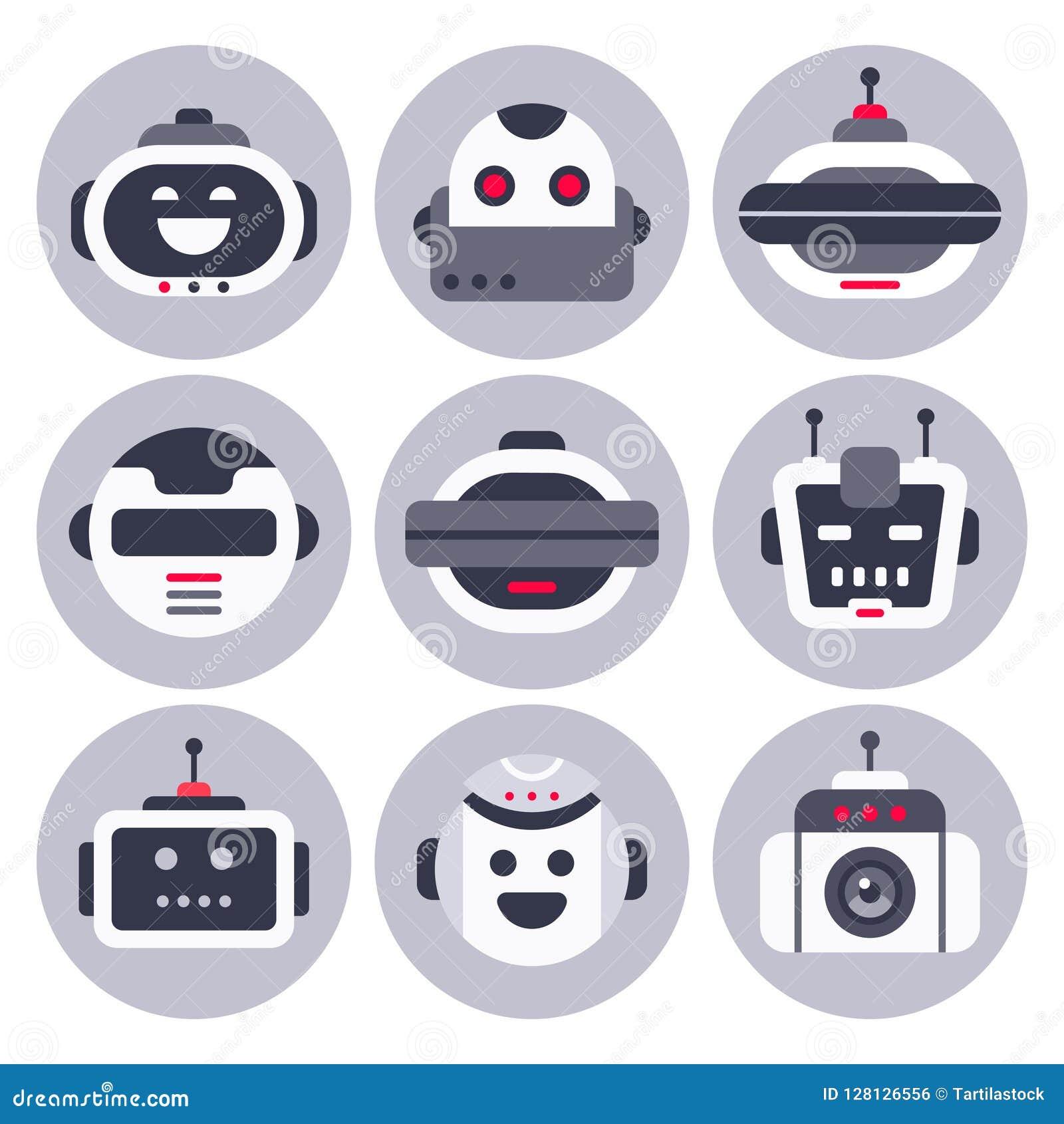 Ícone do robô Avatar robótico do chatbot, robôs do bot da ajuda do bate-papo do computador e bot de conversa digitais assistentes