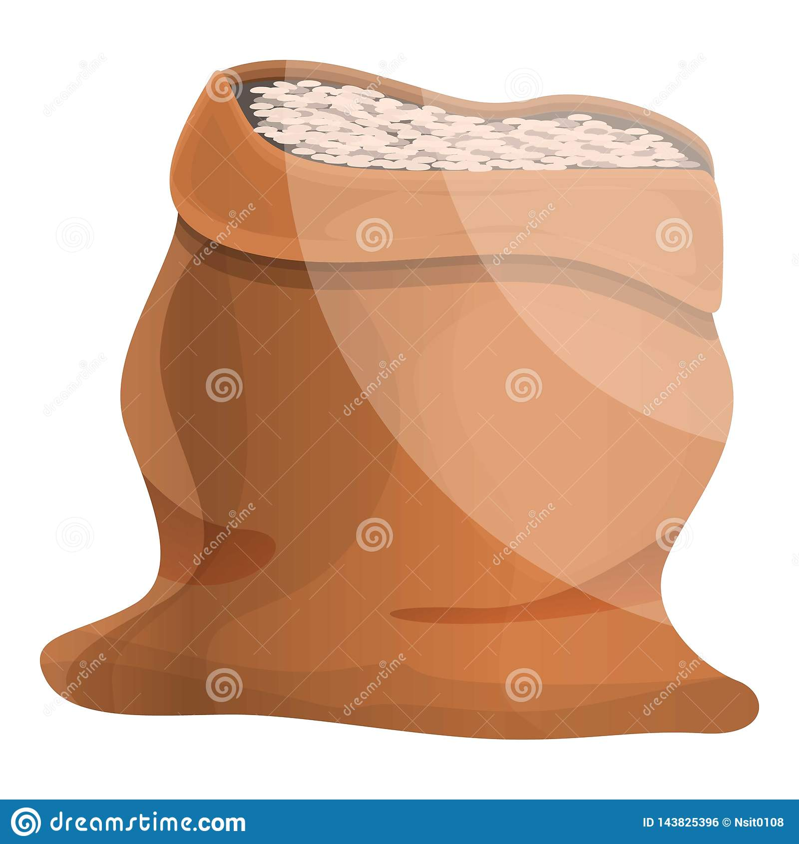 Ícone do saco do arroz do armazém, estilo dos desenhos animados