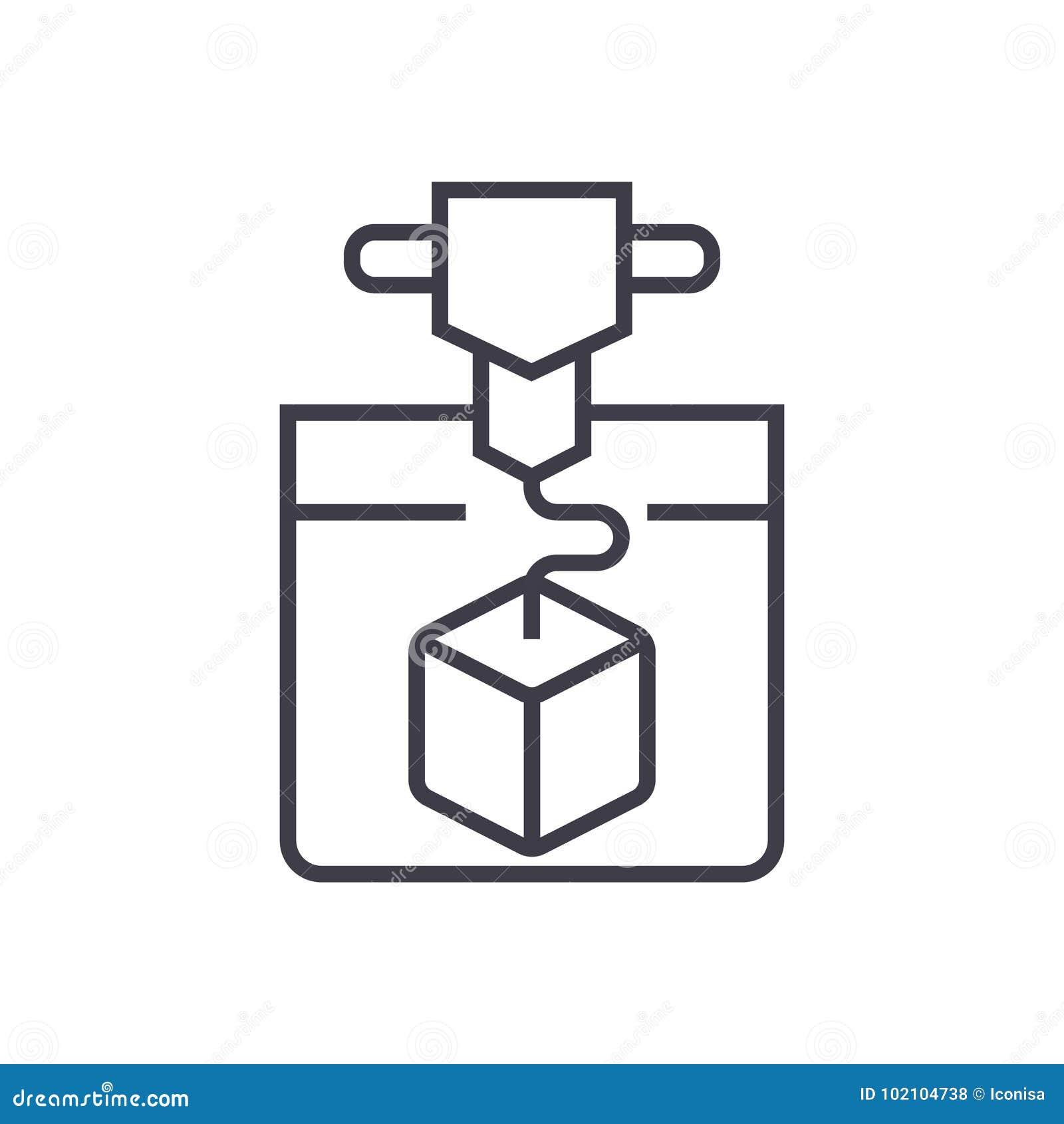ícone do serviço de impressão 3d, ilustração do vetor, sinal no fundo isolado