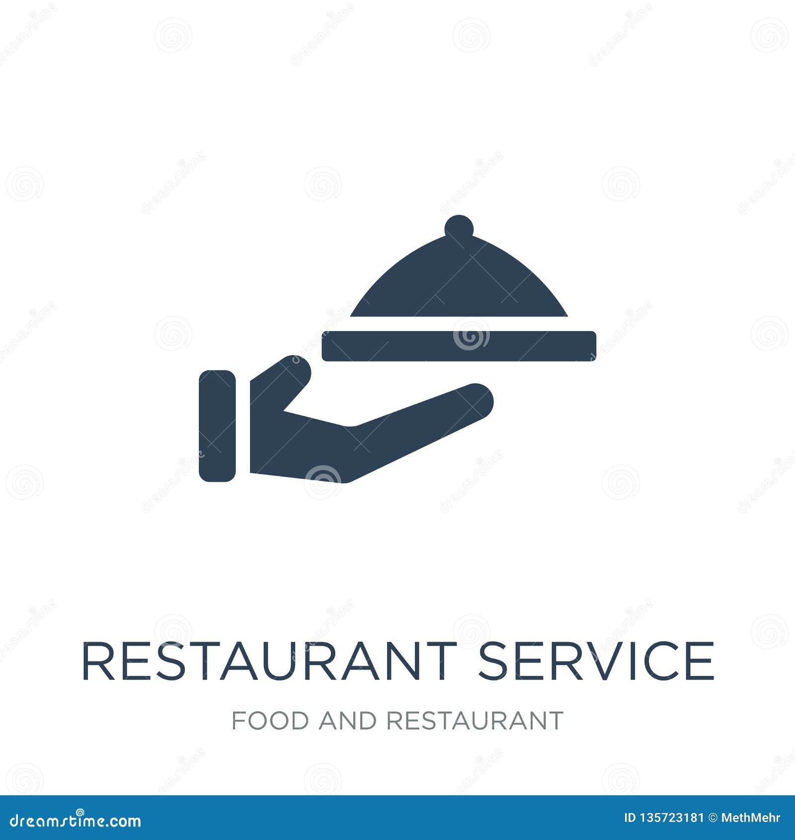 ícone do serviço do restaurante no estilo na moda do projeto ícone do serviço do restaurante isolado no fundo branco vetor do ser