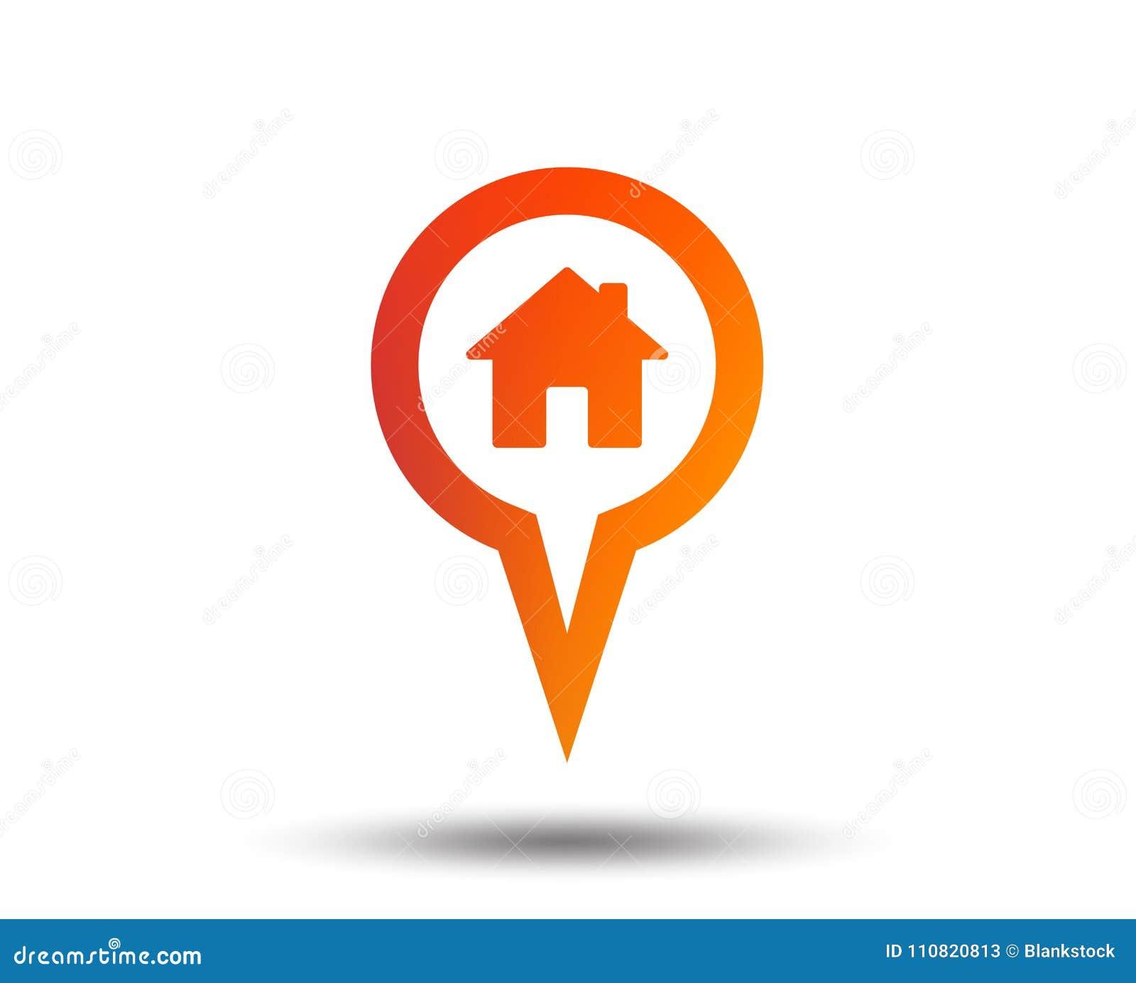 Ícone do sinal da casa do ponteiro do mapa Símbolo do marcador