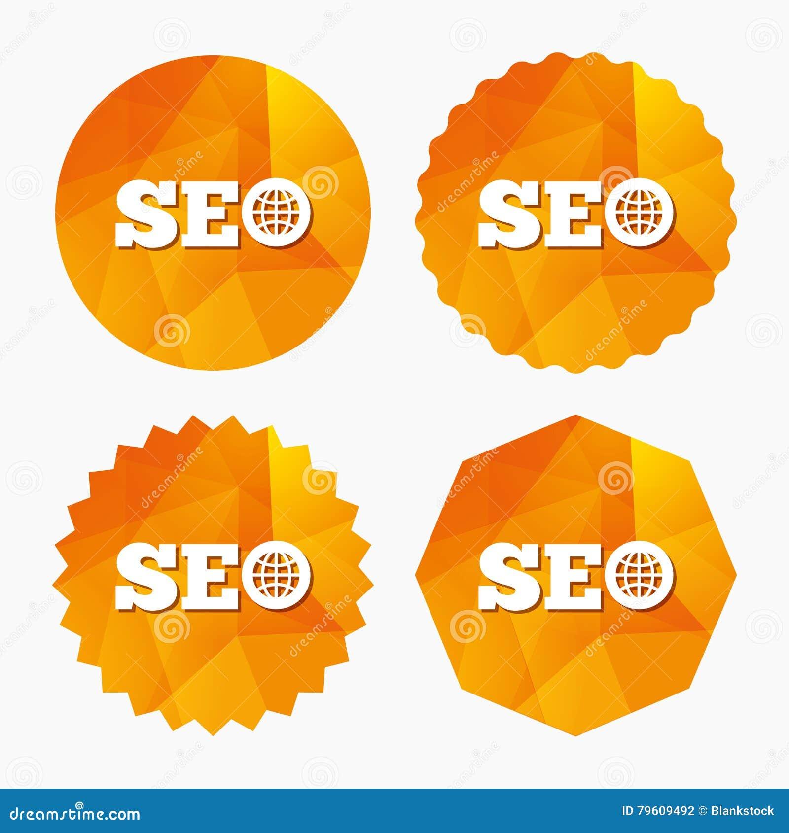 Ícone do sinal de SEO Símbolo da otimização do Search Engine