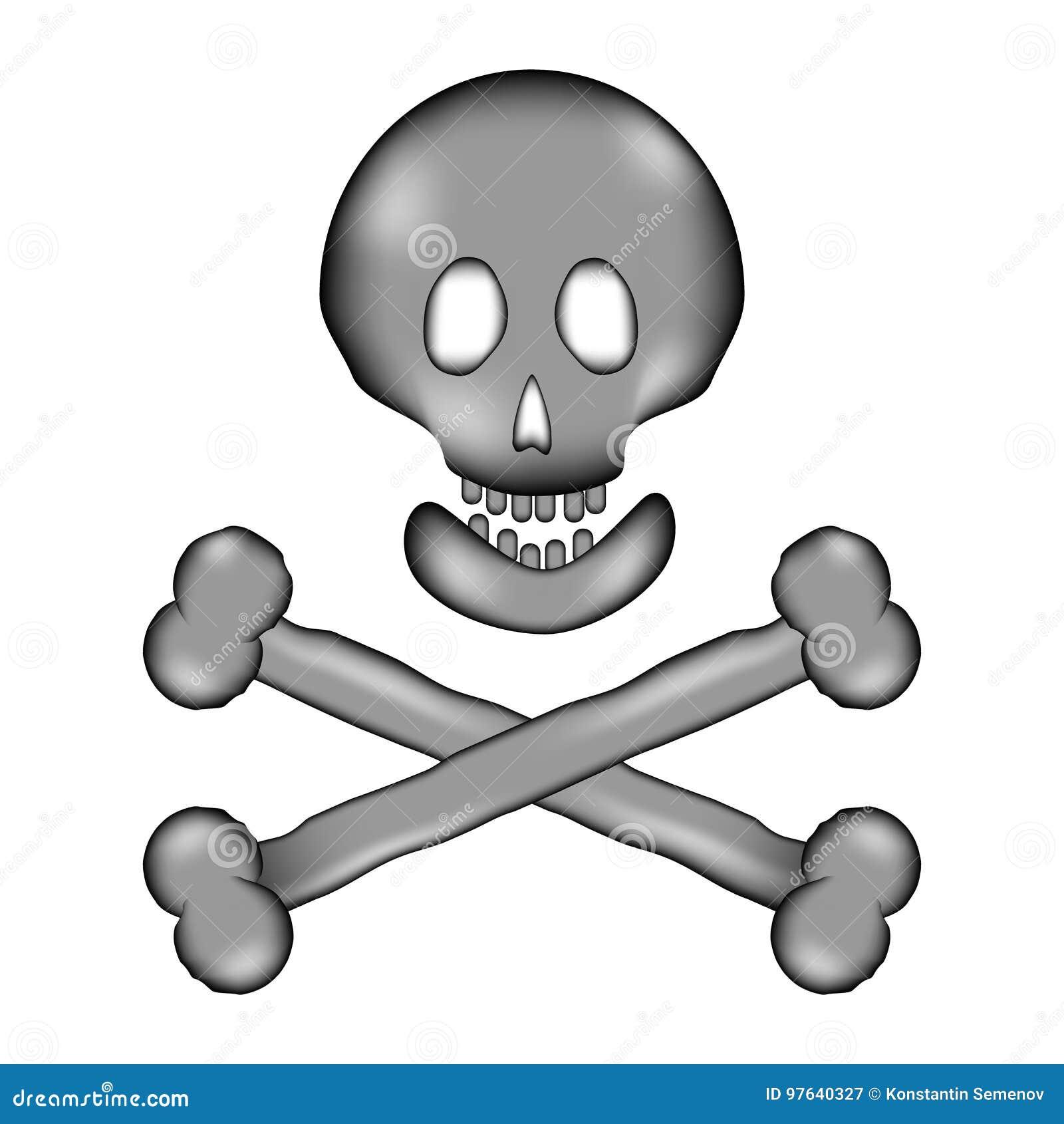 Ícone do sinal do sinal do perigo do crânio e dos ossos