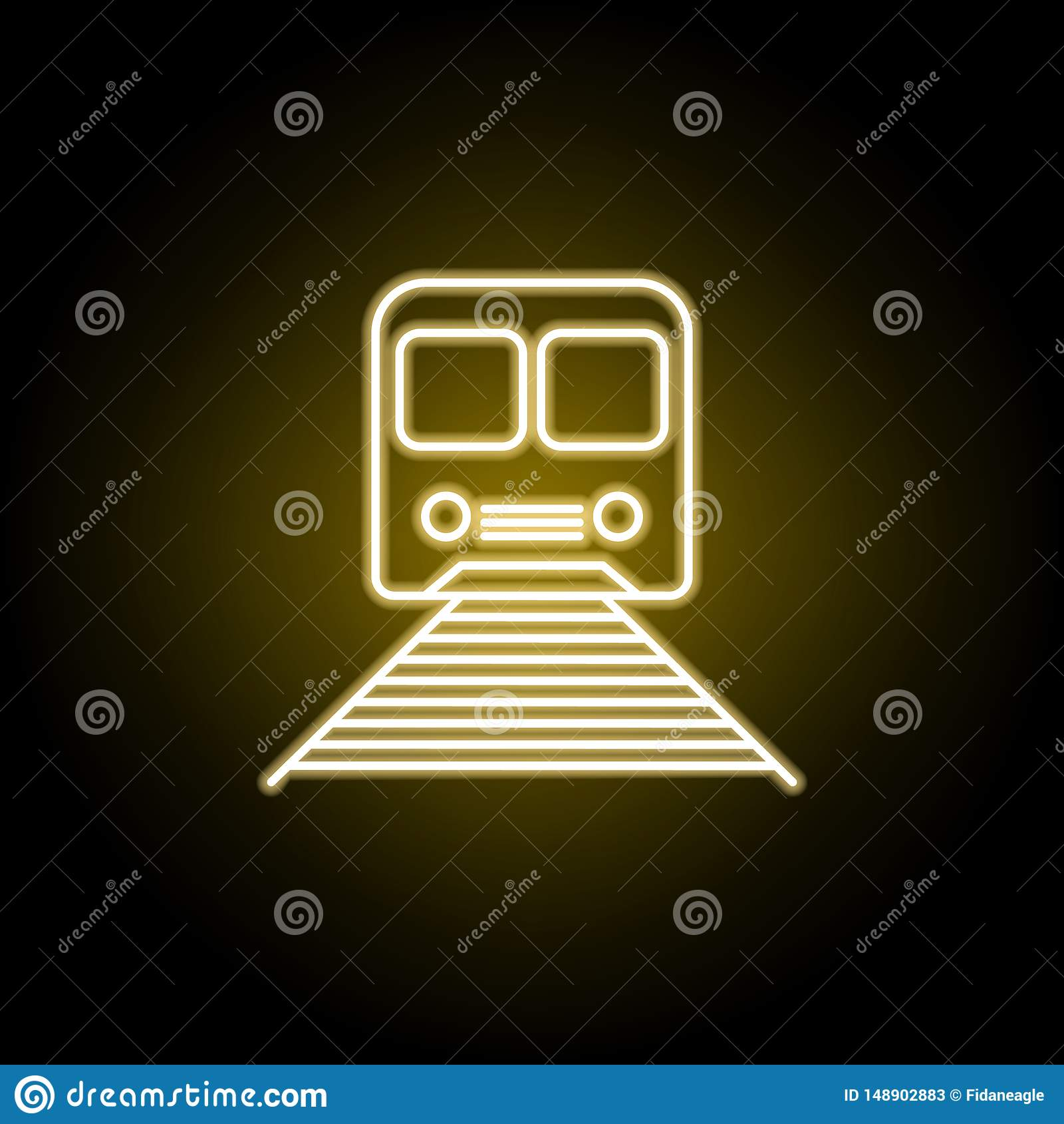 ?cone do trem no estilo de n?on Elemento da ilustra??o do curso Os sinais e os s?mbolos podem ser usados para a Web, logotipo, ap