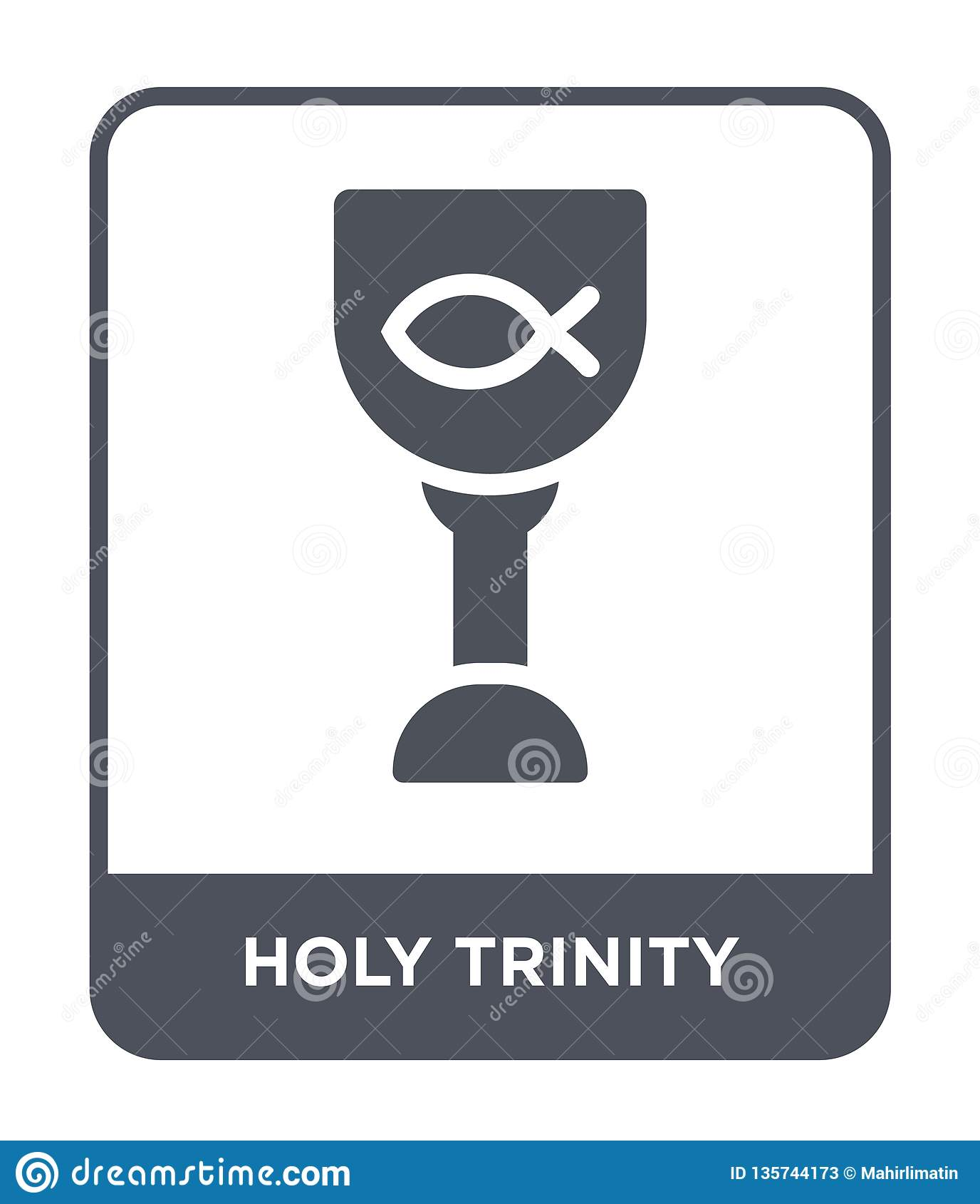 ícone do trinity santamente no estilo na moda do projeto ícone do trinity santamente isolado no fundo branco ícone do vetor do tr