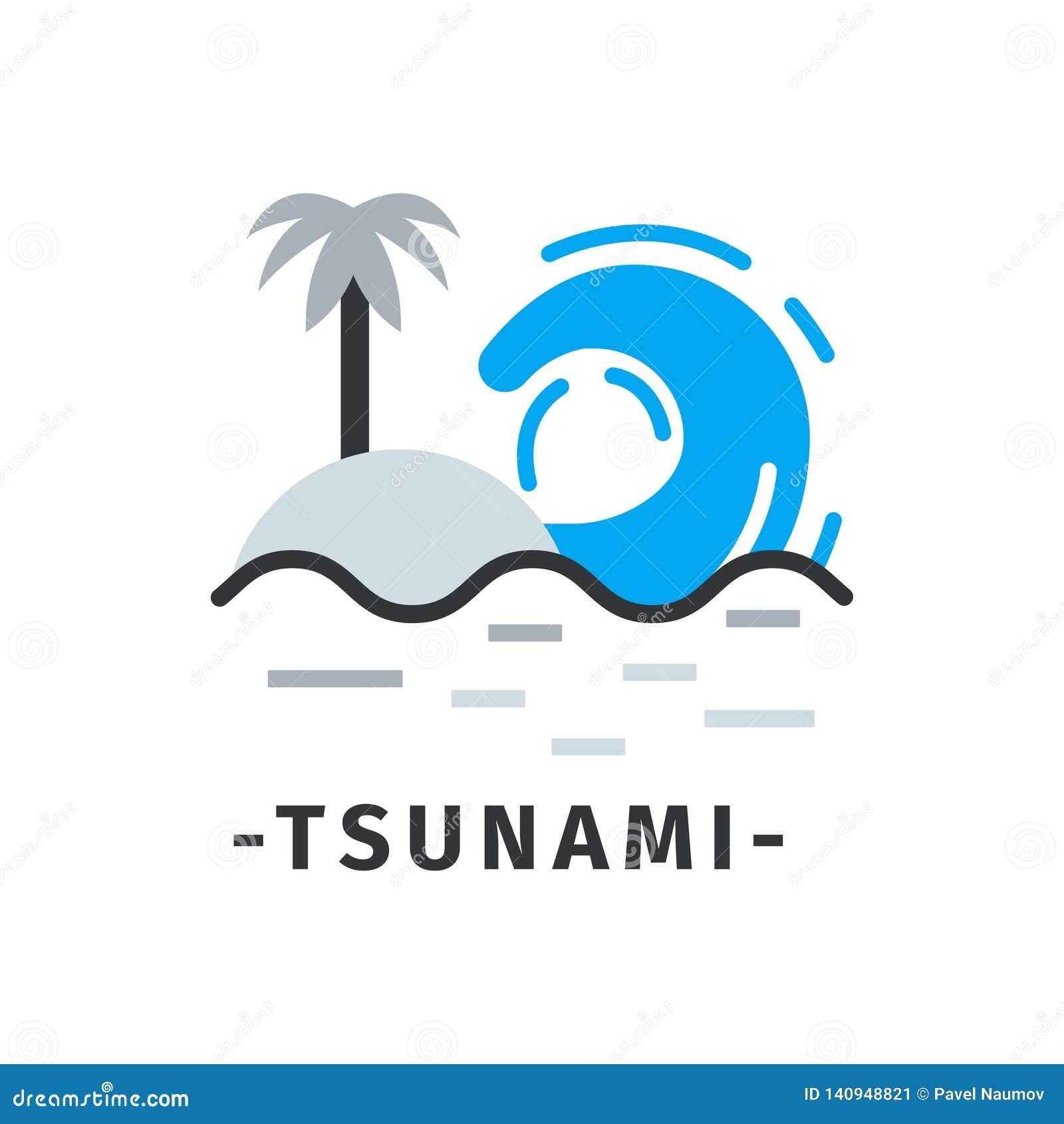 Ícone do tsunami com texto no estilo liso simples Onda do mar e ilha tropical com palmeira Disastre natural Vetor liso