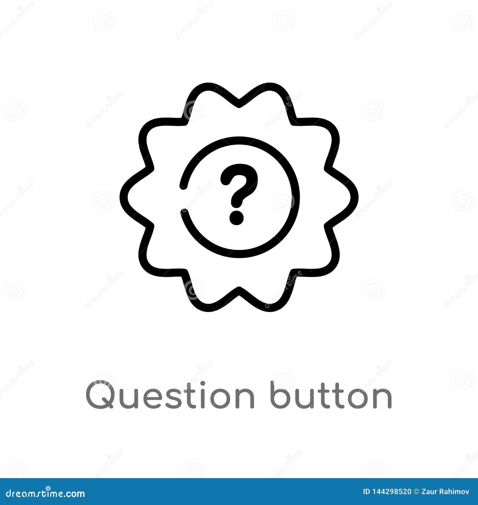 ícone do vetor do botão da pergunta do esboço linha simples preta isolada ilustra??o do elemento do conceito da interface de usu?