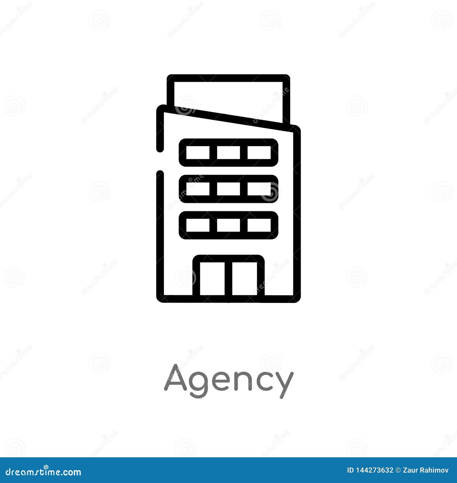 ícone do vetor da agência do esboço linha simples preta isolada ilustra??o do elemento do conceito das constru??es agência editáv
