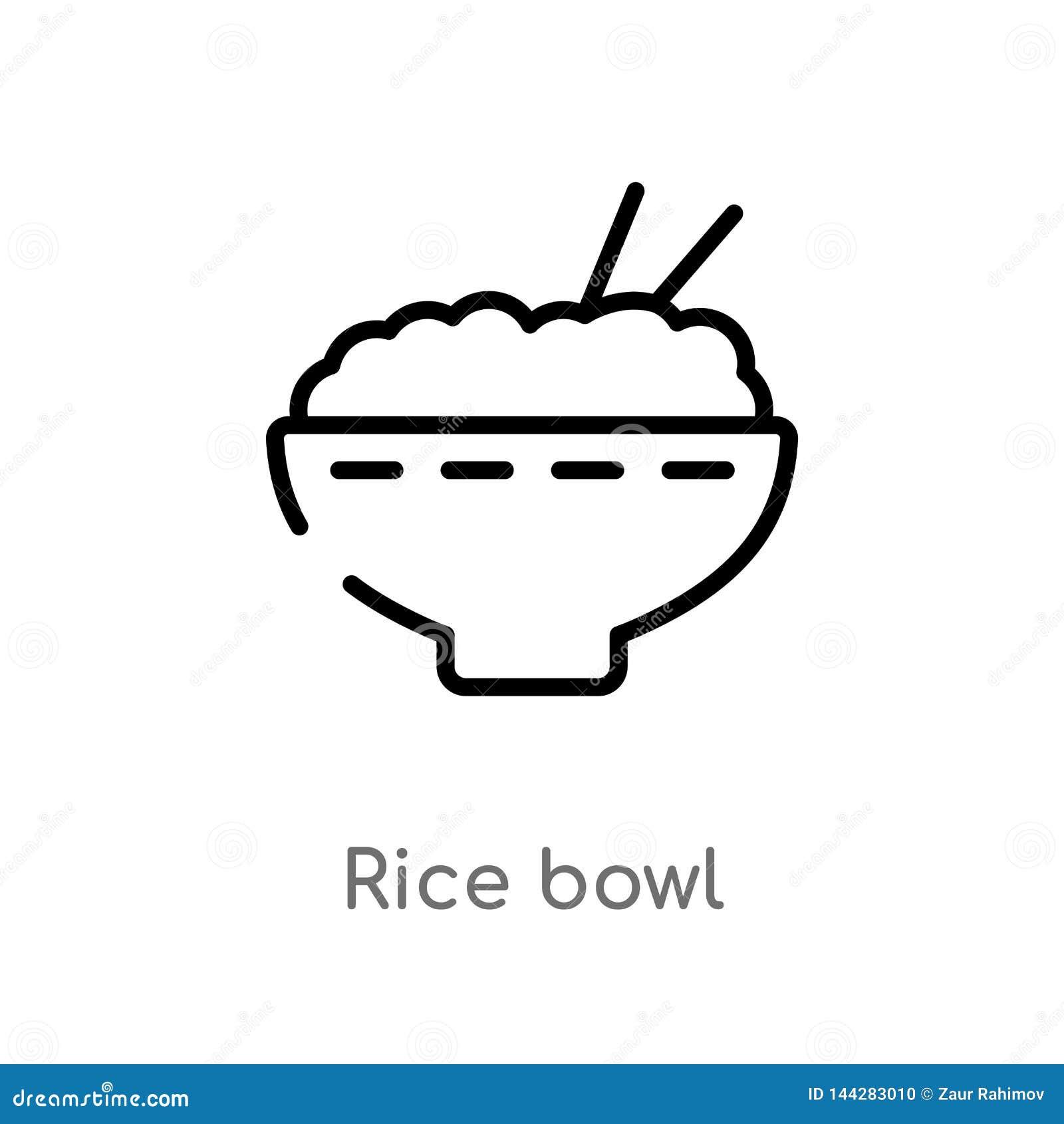 ícone do vetor da bacia de arroz do esboço linha simples preta isolada ilustra??o do elemento do conceito do alimento bacia de ar
