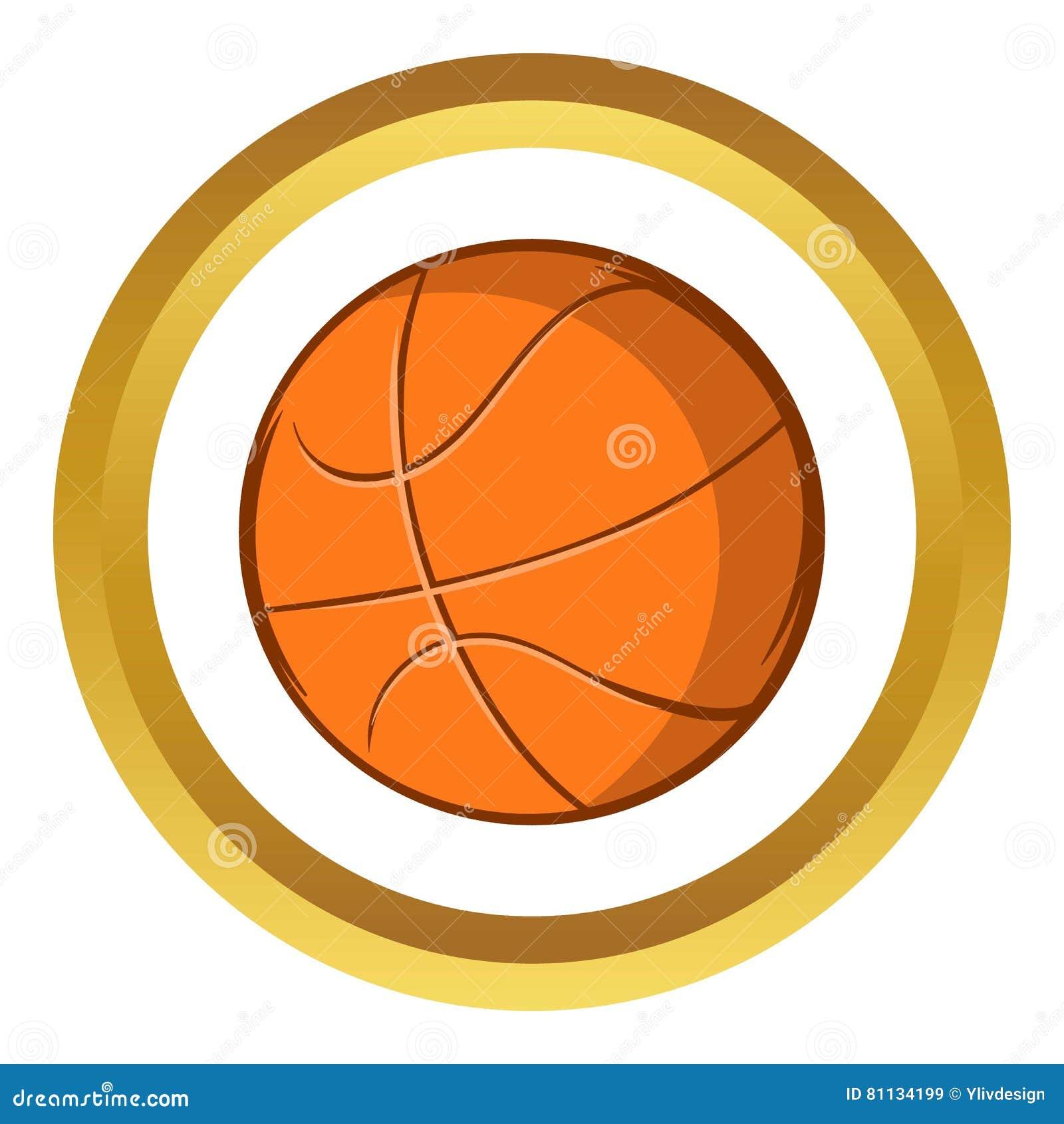 Ícone do vetor da bola do basquetebol estilo dos desenhos animados