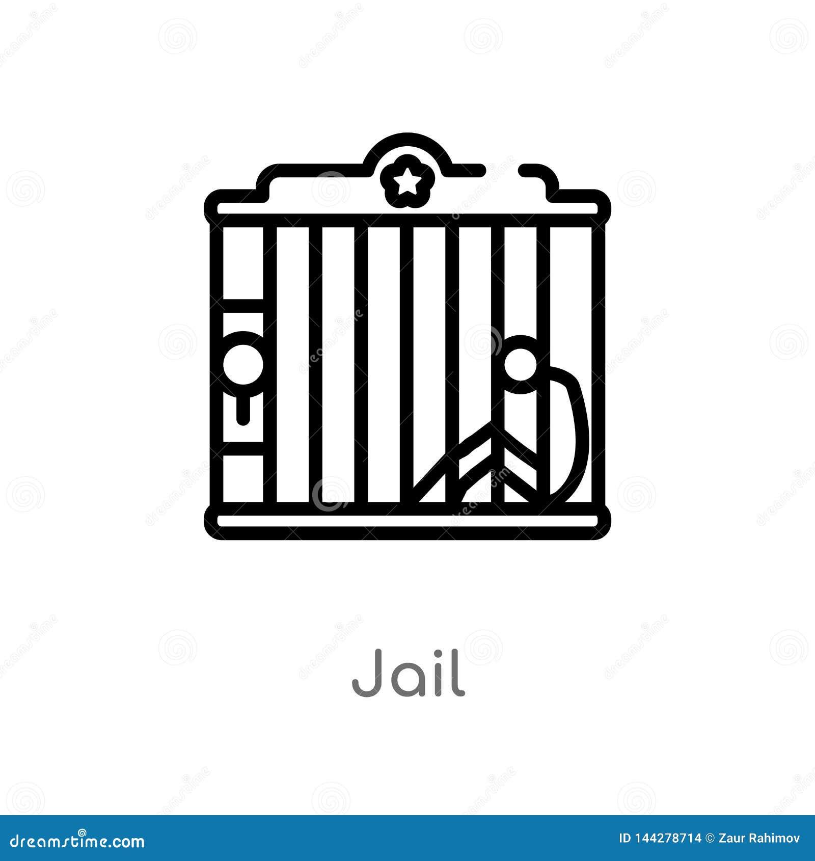 ícone do vetor da cadeia do esboço linha simples preta isolada ilustração do elemento do conceito ocidental selvagem ícone editáv