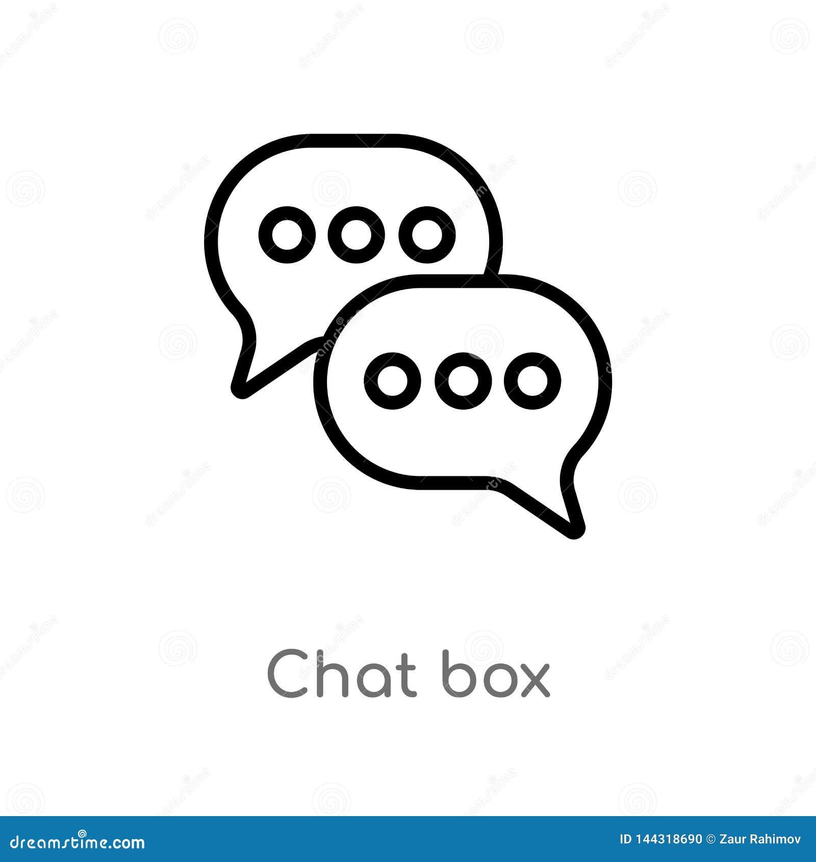 ícone do vetor da caixa do bate-papo do esboço linha simples preta isolada ilustra??o do elemento do conceito social caixa editáv