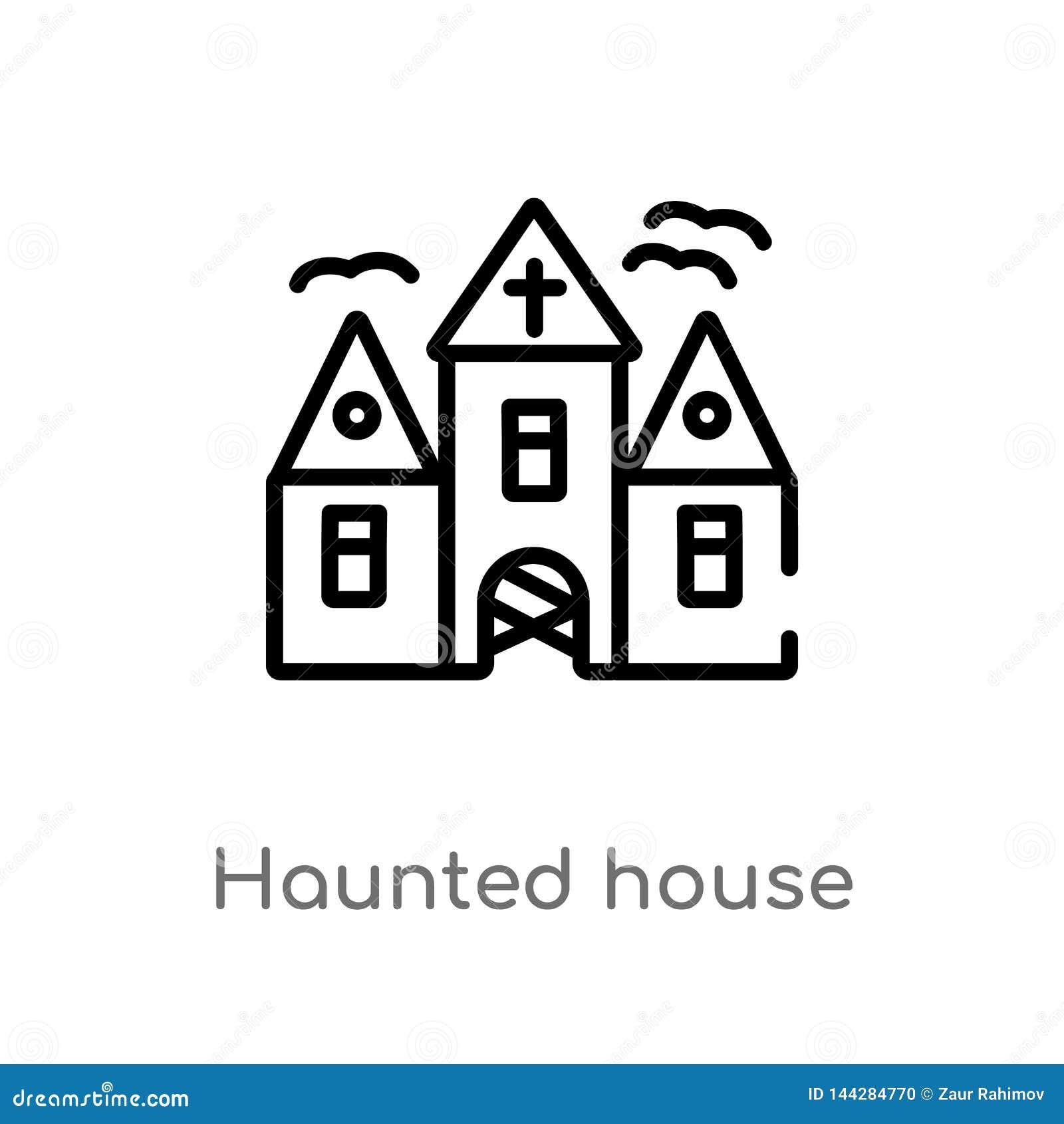 ícone do vetor da casa assombrada do esboço linha simples preta isolada ilustra??o do elemento do conceito do Dia das Bruxas Curs