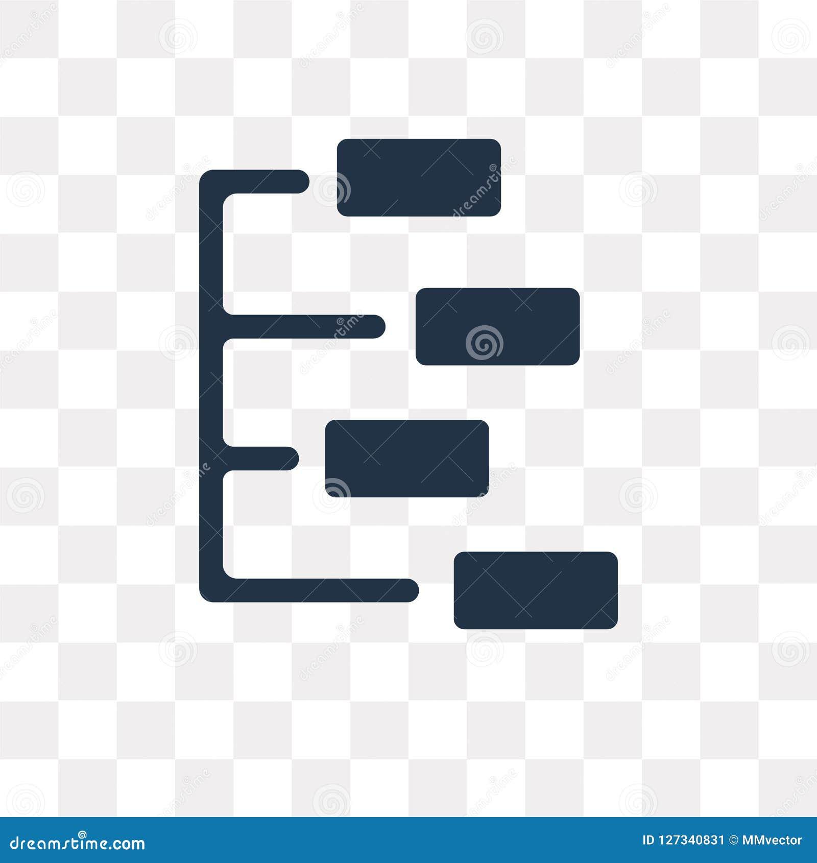 Ícone do vetor da estrutura hierárquica isolado no backg transparente